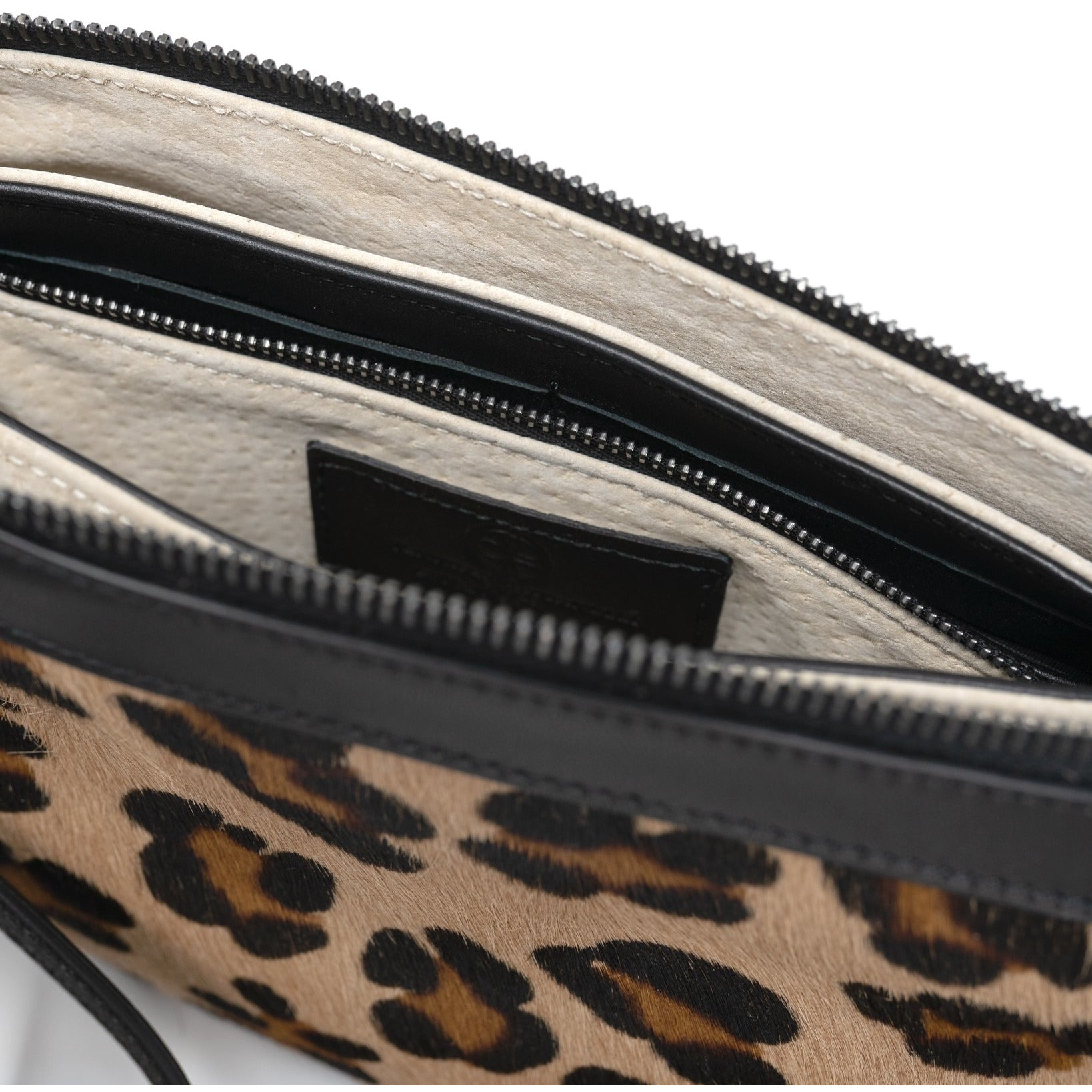 Woman Leopard Lamb Hair Leather Clutch - Jennifer Tattanelli