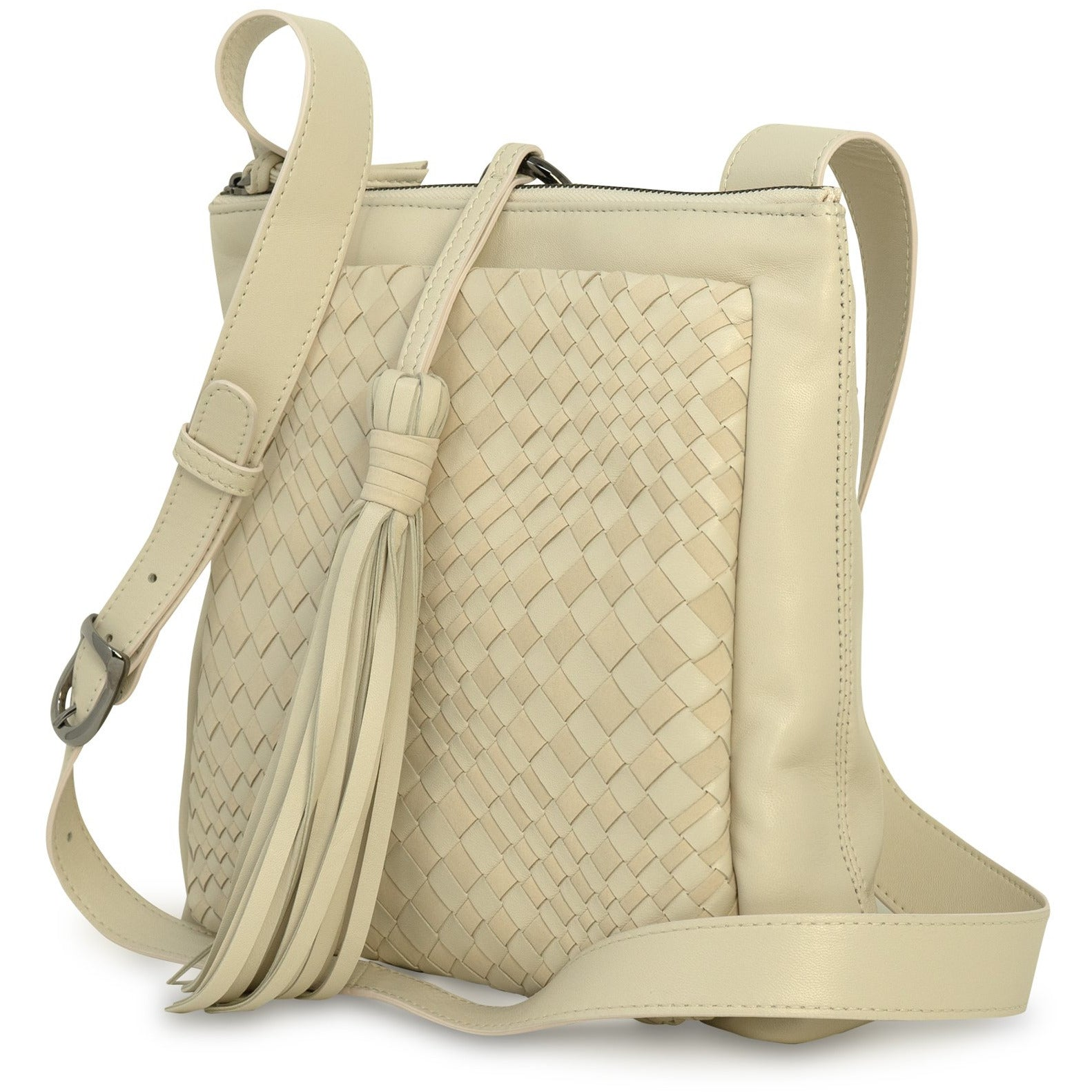 GINGER IS Crossbody Bag Intrecciato Optical Leather Nappa Beige - Jennifer Tattanelli