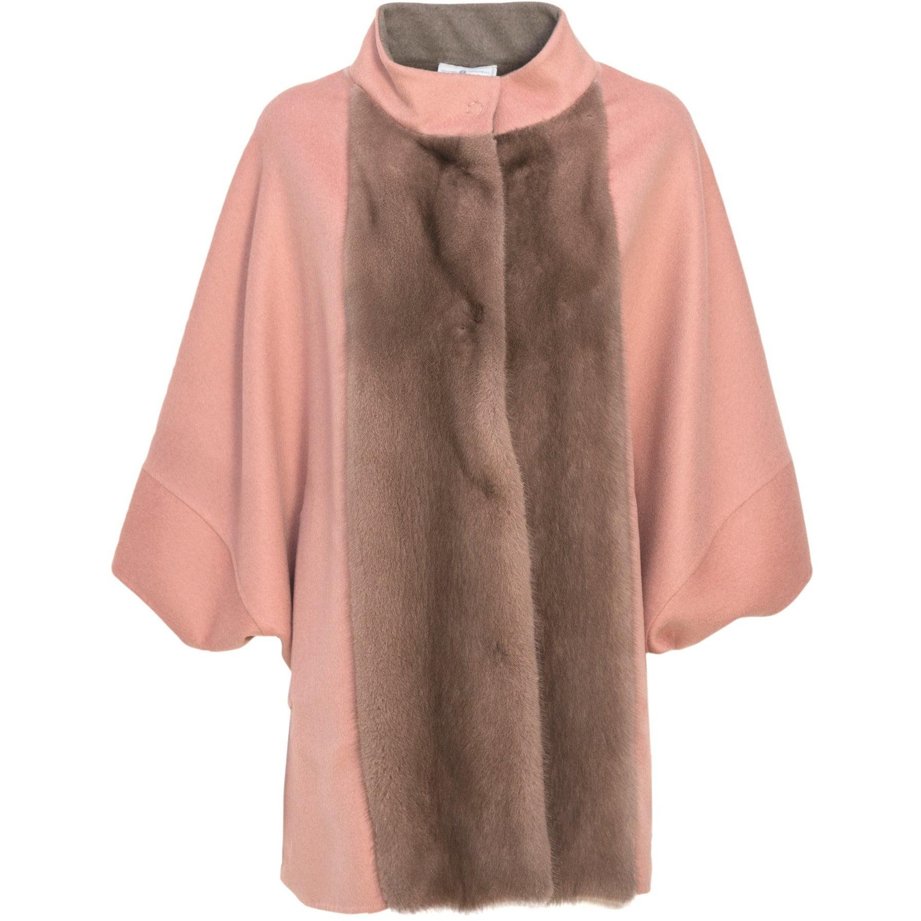 REVERSIBLE CASHMERE CAPE WITH MINK COLLAR