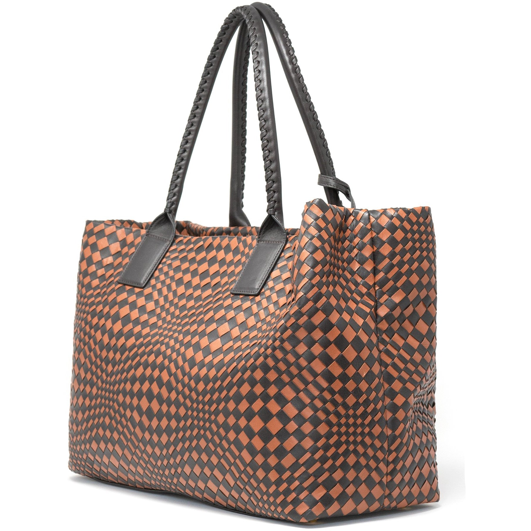 Sophia Maxi Intrecciato Shopping Bag in Brown - Jennifer Tattanelli