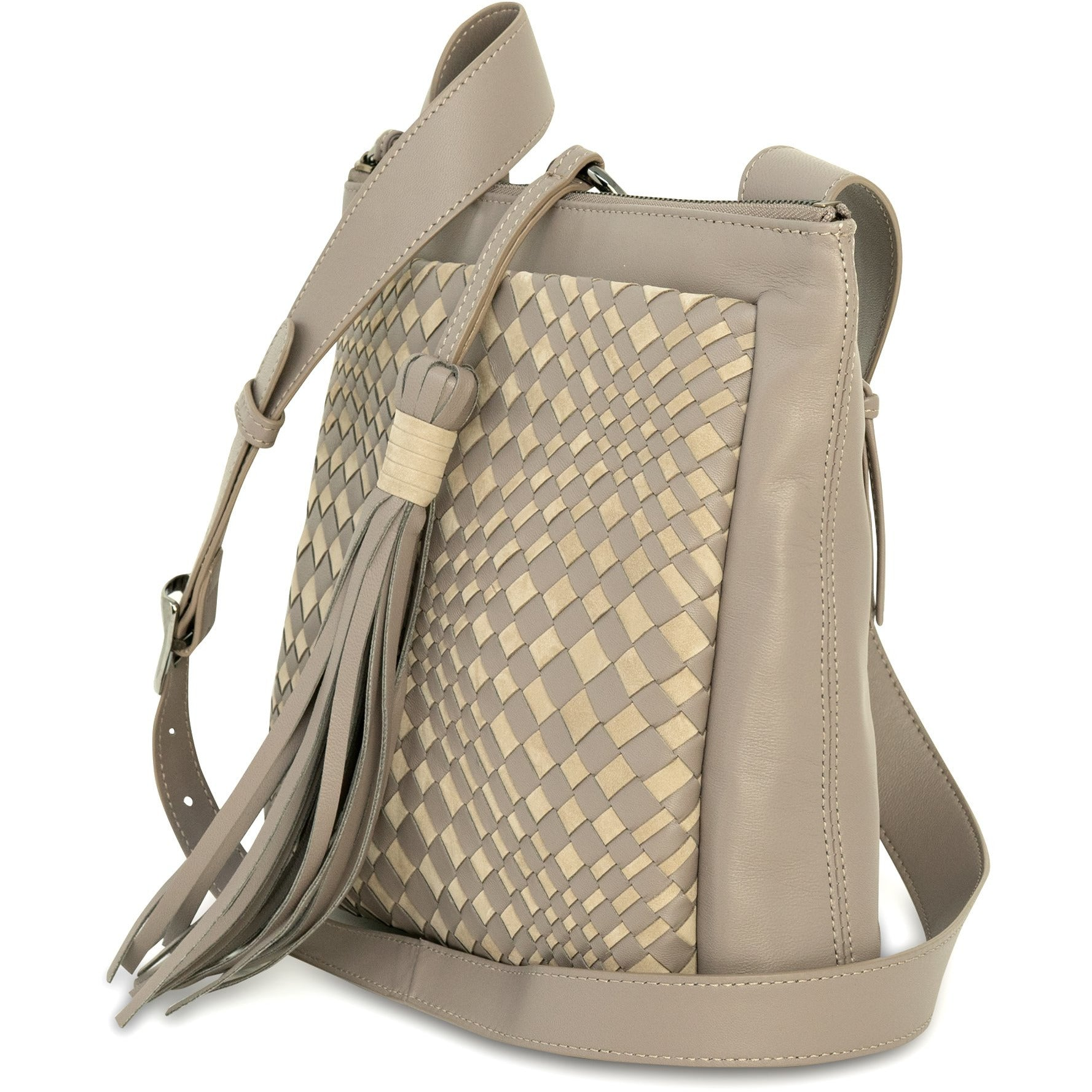 GINGER IS Crossbody Bag Intrecciato Optical Nappa Taupe - Jennifer Tattanelli