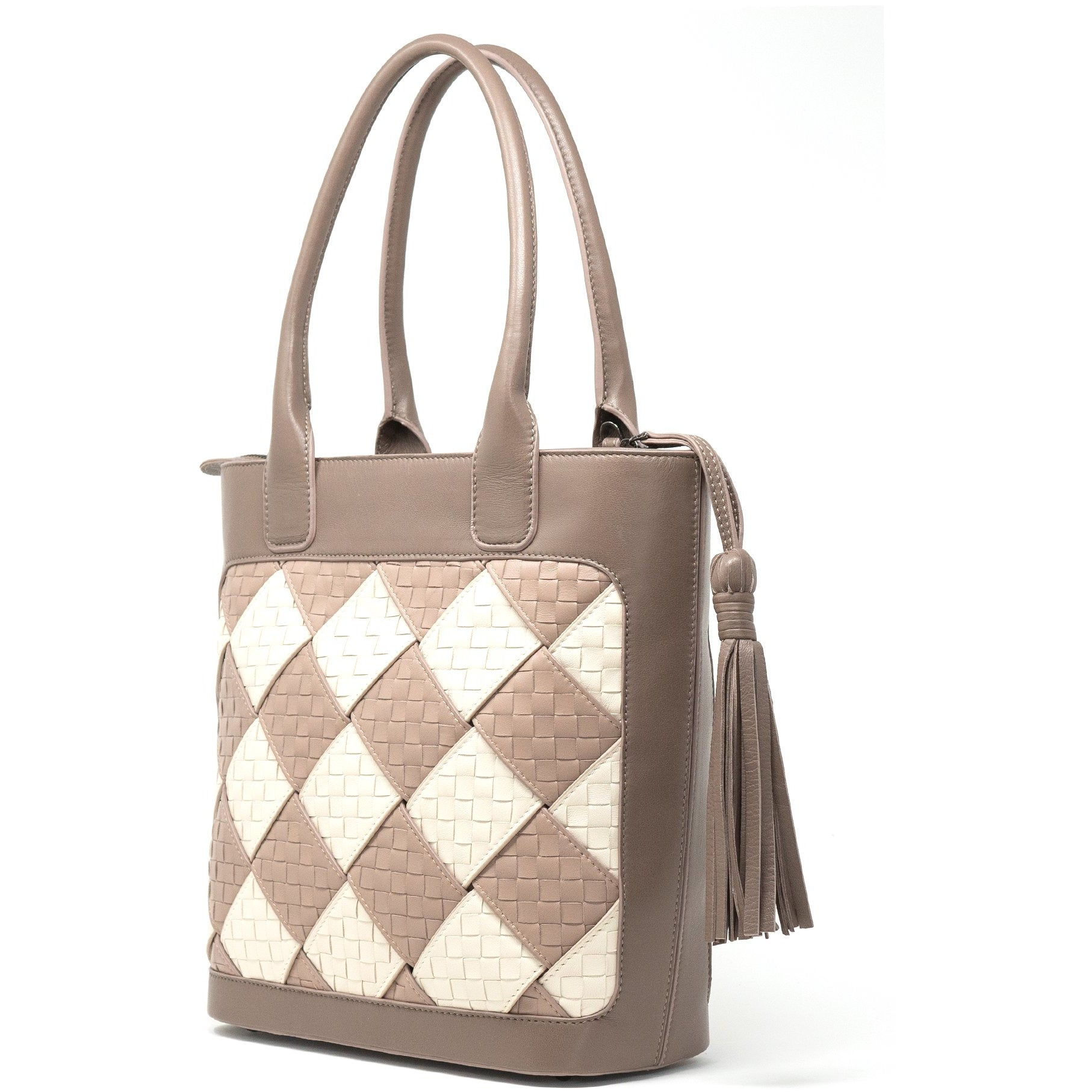 JT316 5570 H28 Leather Intrecciato Bold Tote Bag - Jennifer Tattanelli