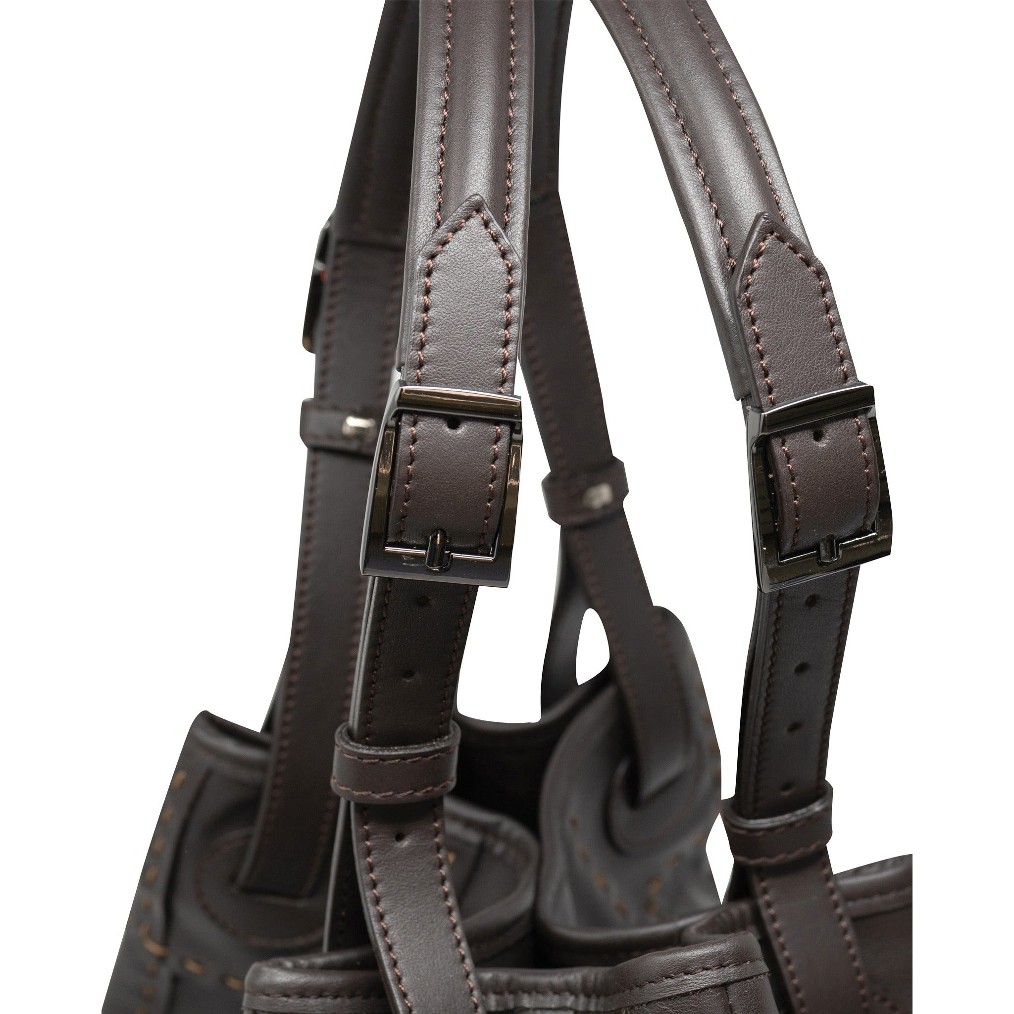 Alessia M Women Leather Shoulder Tote in Dark Brown - Jennifer Tattanelli