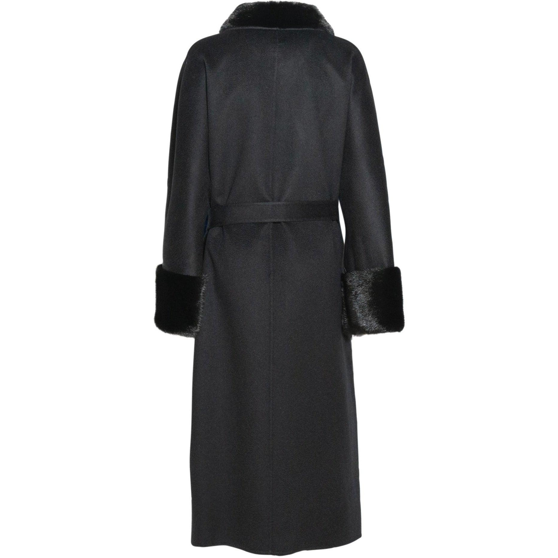 REVERSIBLE CASHMERE LONG COAT WITH MINK COLLAR - ROS1866 New 2020 Collection