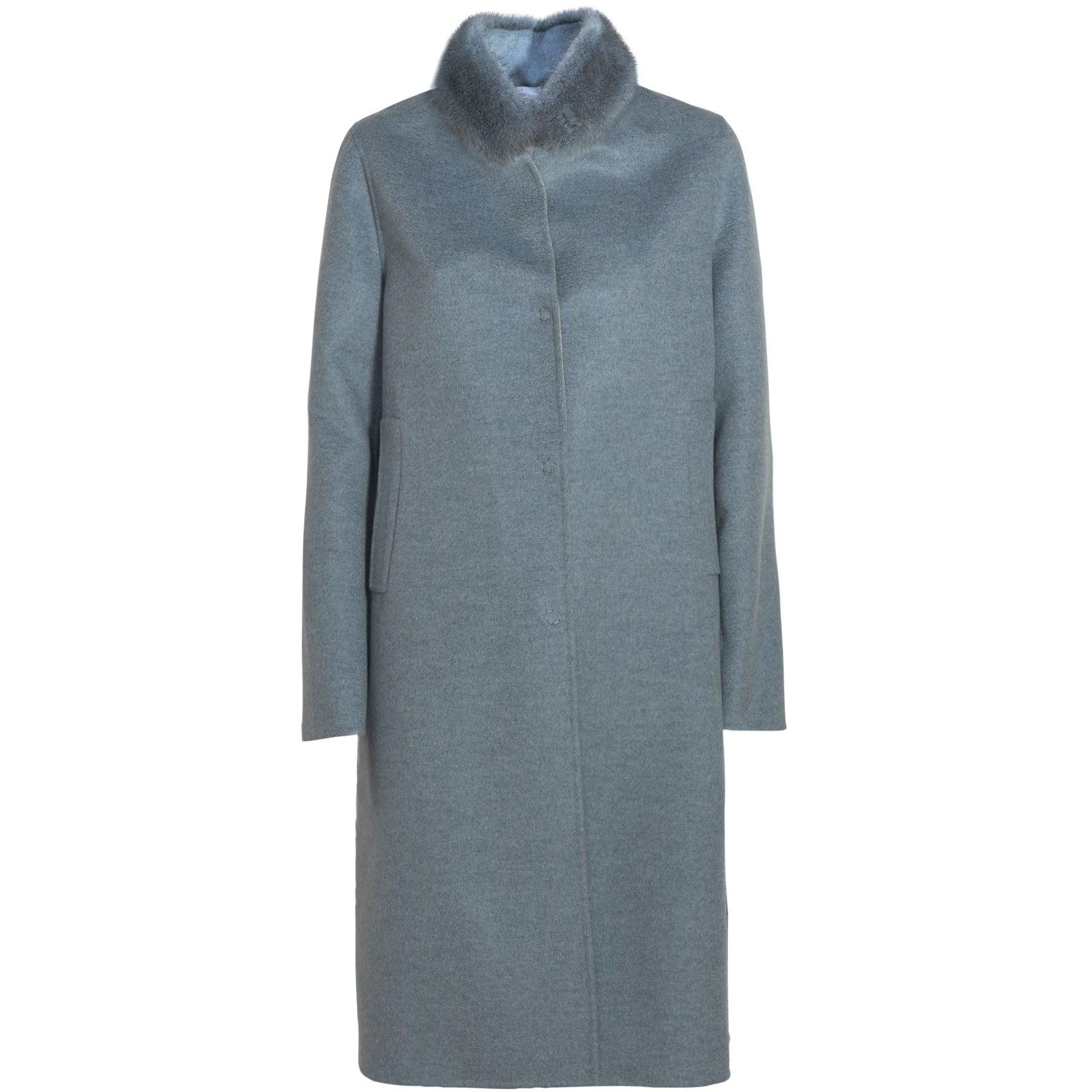 REVERSIBLE CASHMERE LONG COAT WITH MINK COLLAR - ROS1856 New 2020 Collection