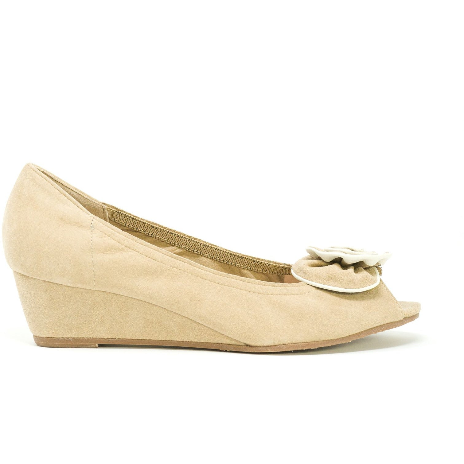 Women Open-Toe Wedges in Suede Beige