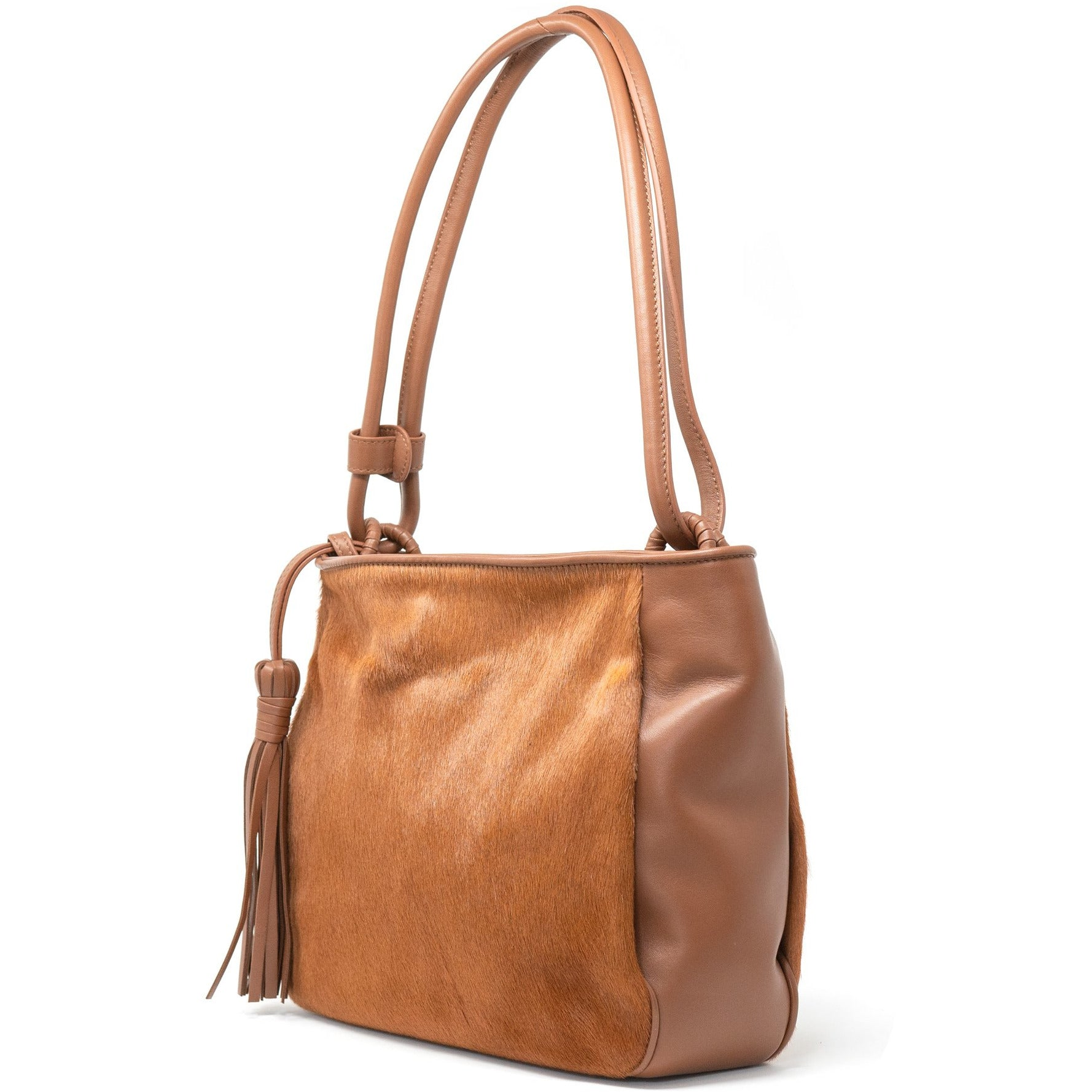 JT40 5558 30 Women Lamb Hair Leather Shoulder Bag - Jennifer Tattanelli