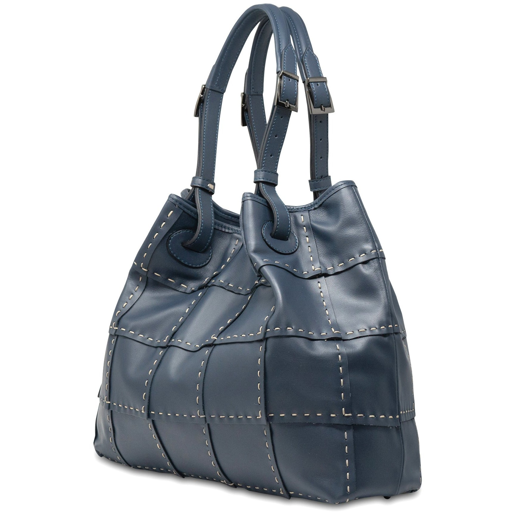 Alessia M Women Leather Shoulder Tote in Navy - Jennifer Tattanelli