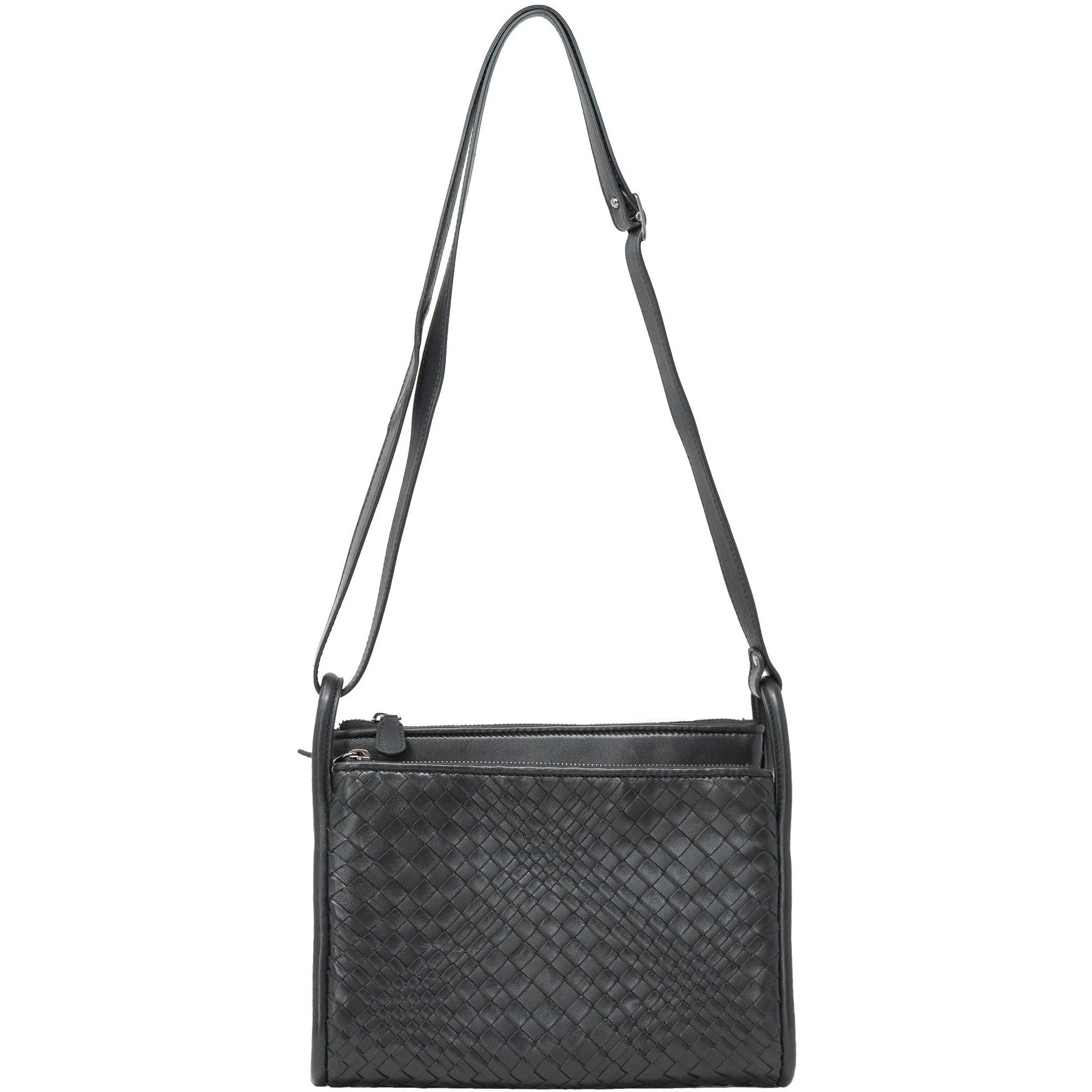 JT334 5557 Intrecciato Optical Leather Shoulder Bag in Nappa Black - Jennifer Tattanelli