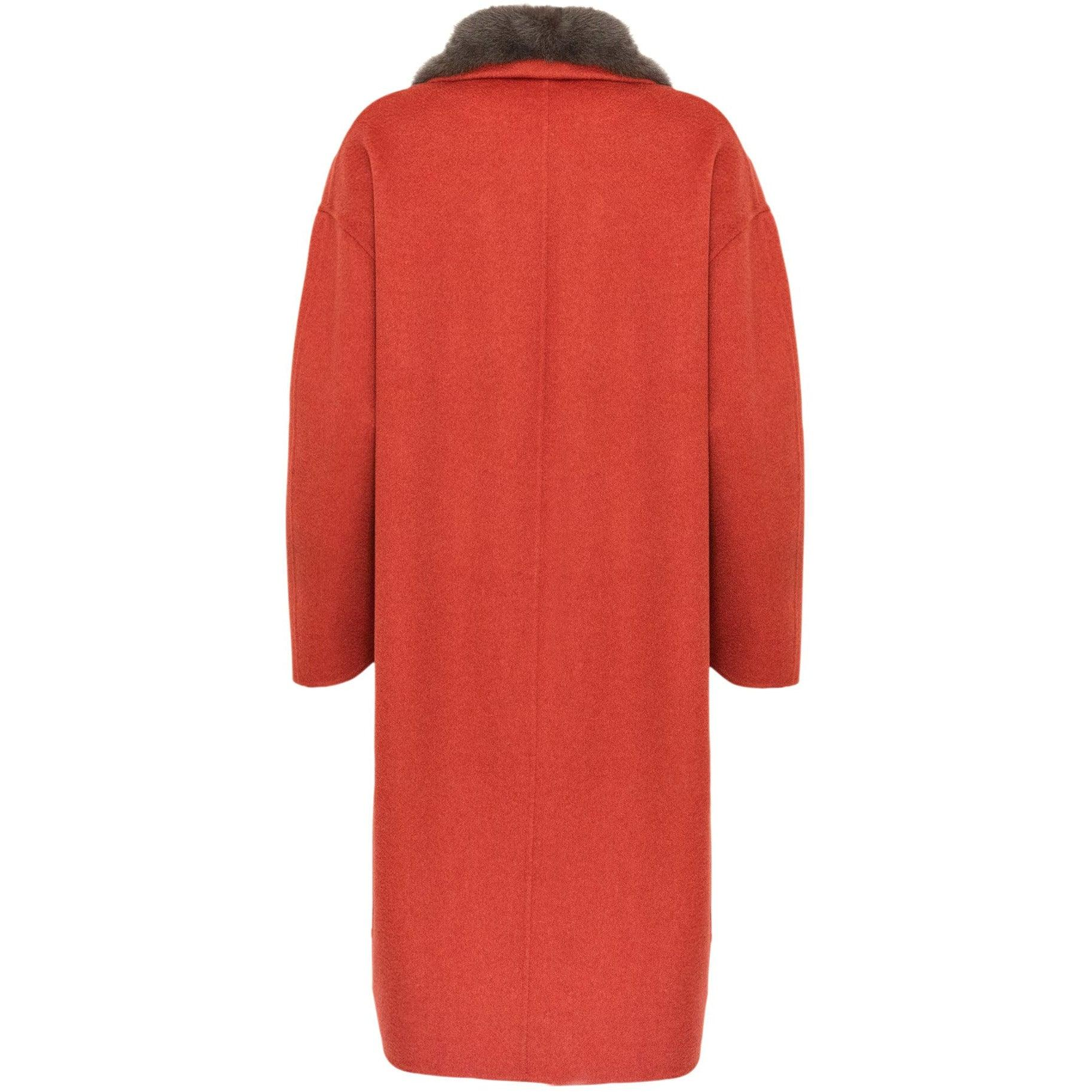 REVERSIBLE CASHMERE LONG COAT WITH MINK COLLAR - ROS1862 New 2020 Collection