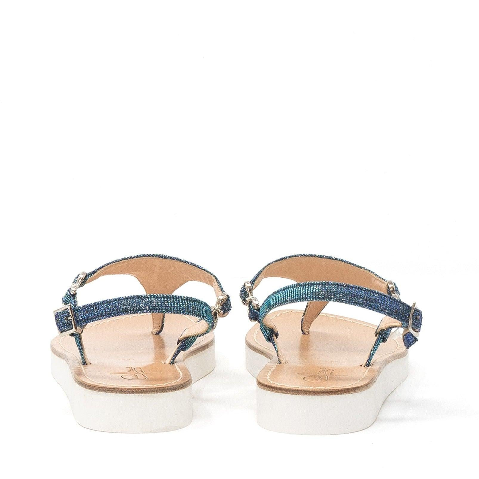 Women Sandals in Green Lurex and white sole