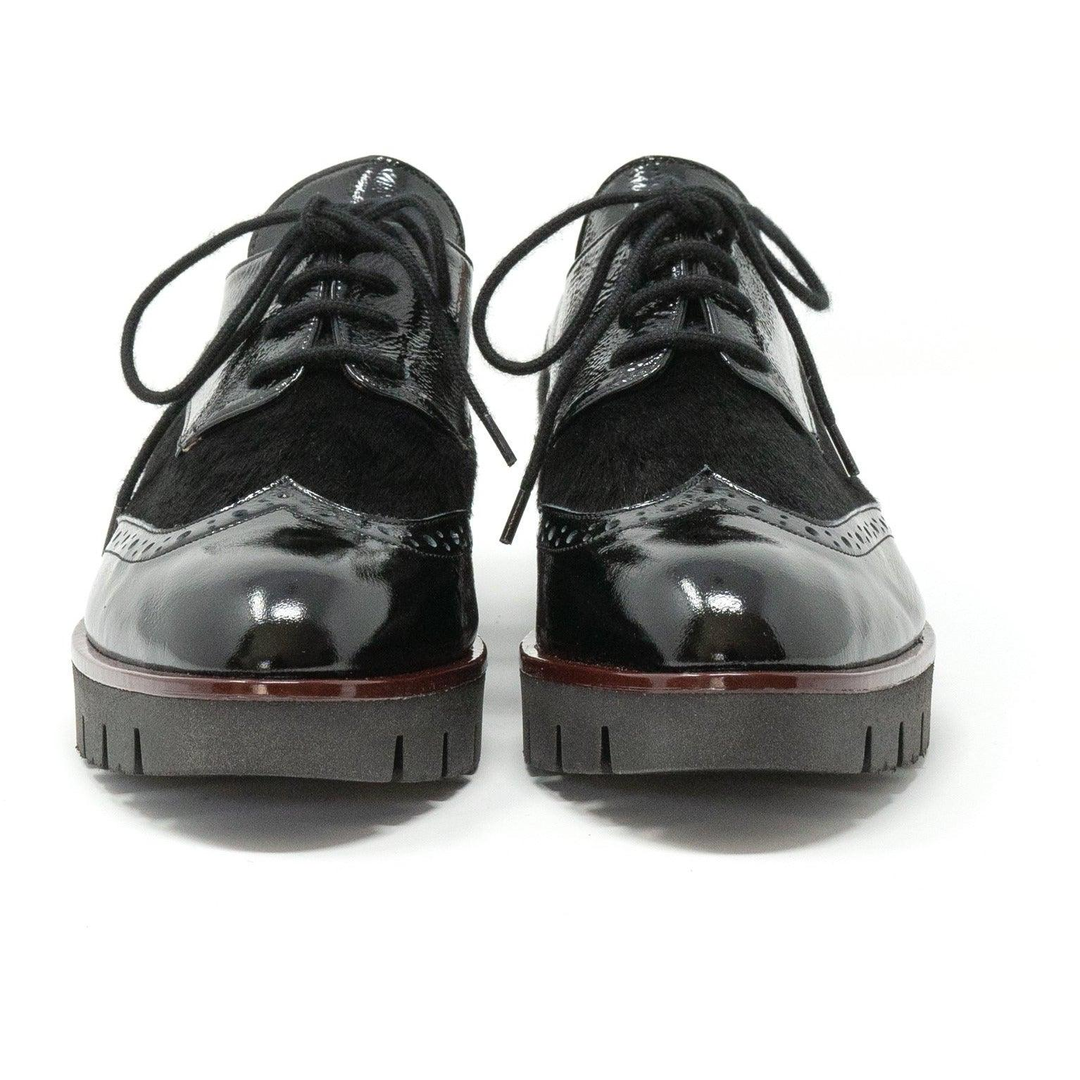 Women Lace-Up Leather Wedges in Black