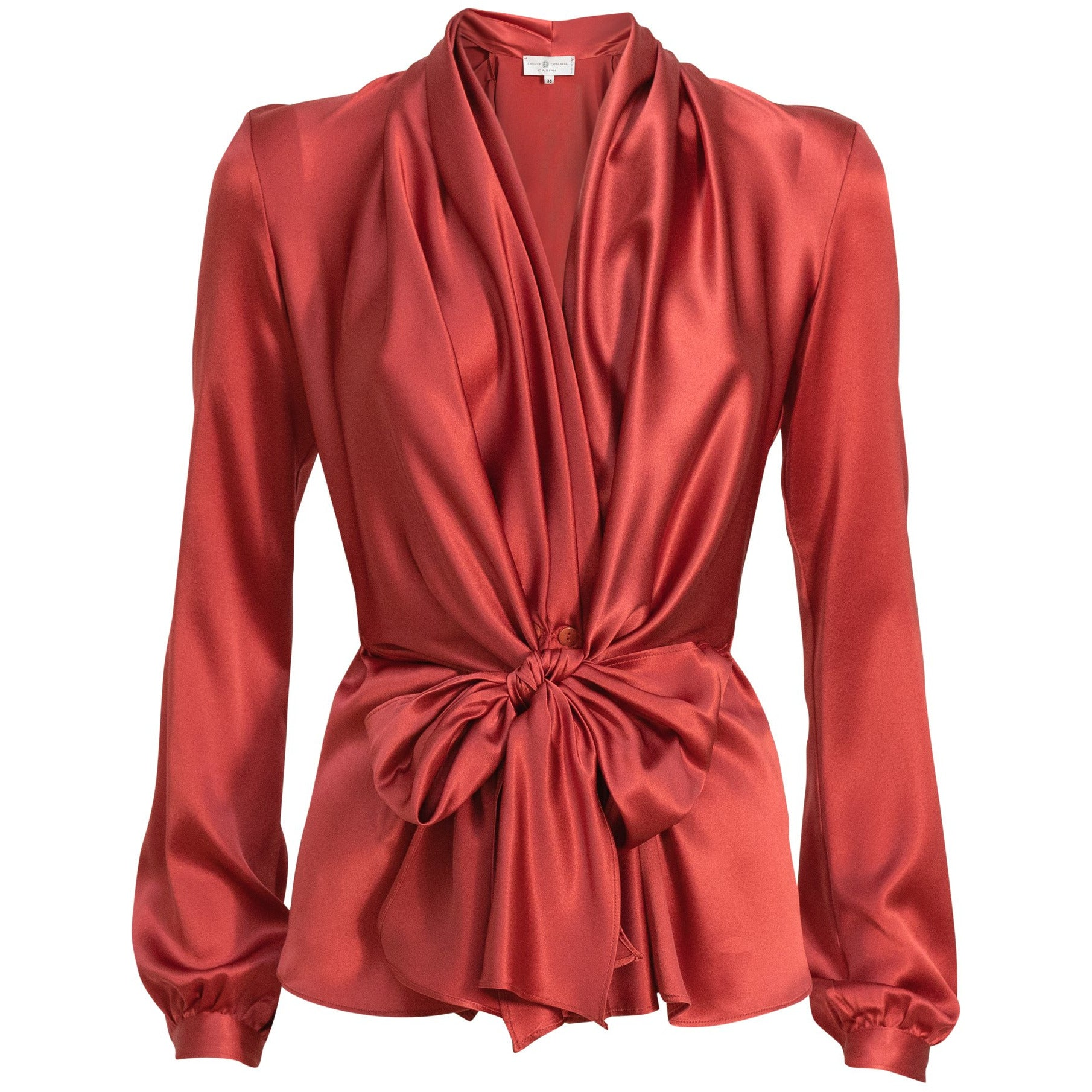 Long Sleeve Silk Blouse with Sash in Red - Jennifer Tattanelli