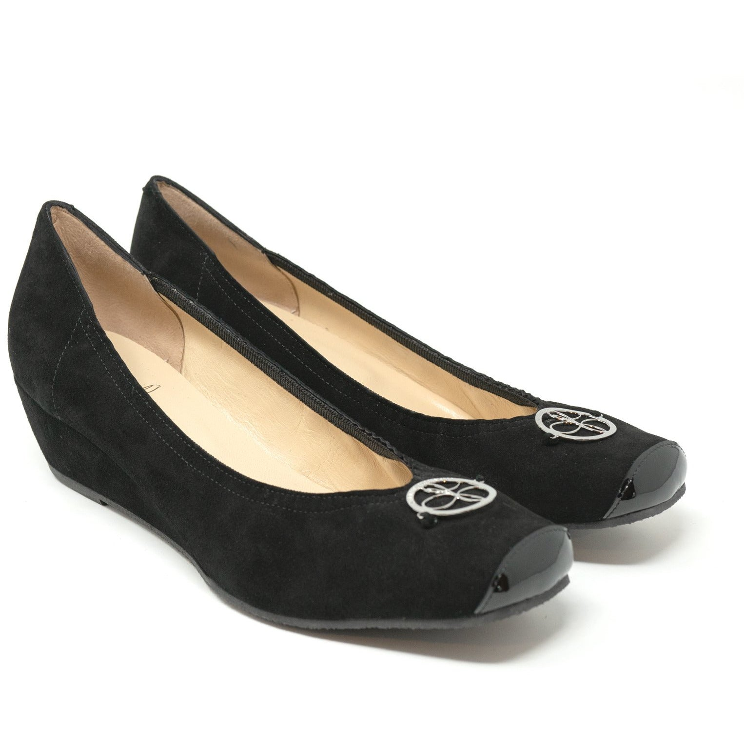 Women Ballerina Shoes with Wedge in Suede Black - Jennifer Tattanelli