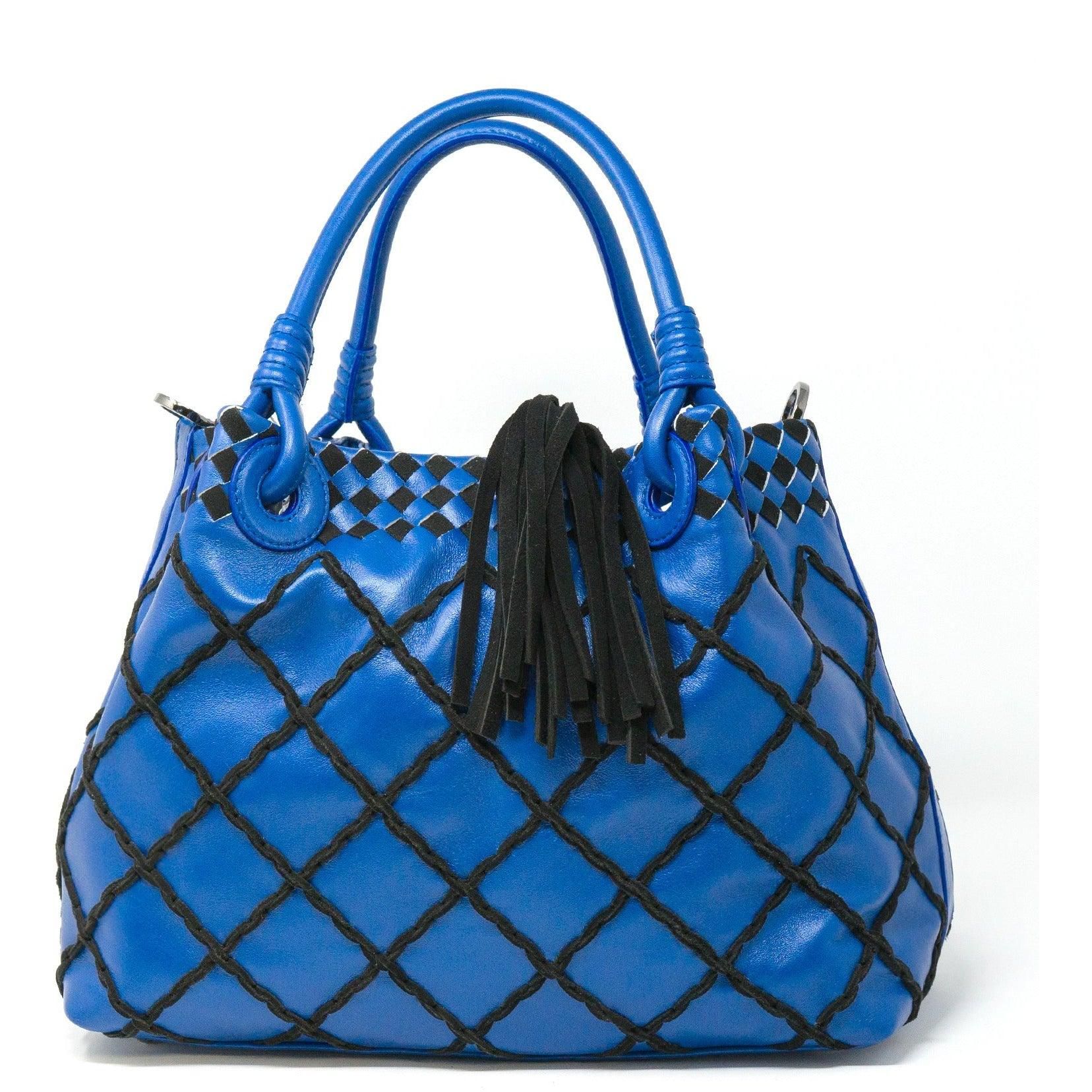 Women Leather Top Handle Bag in Blue