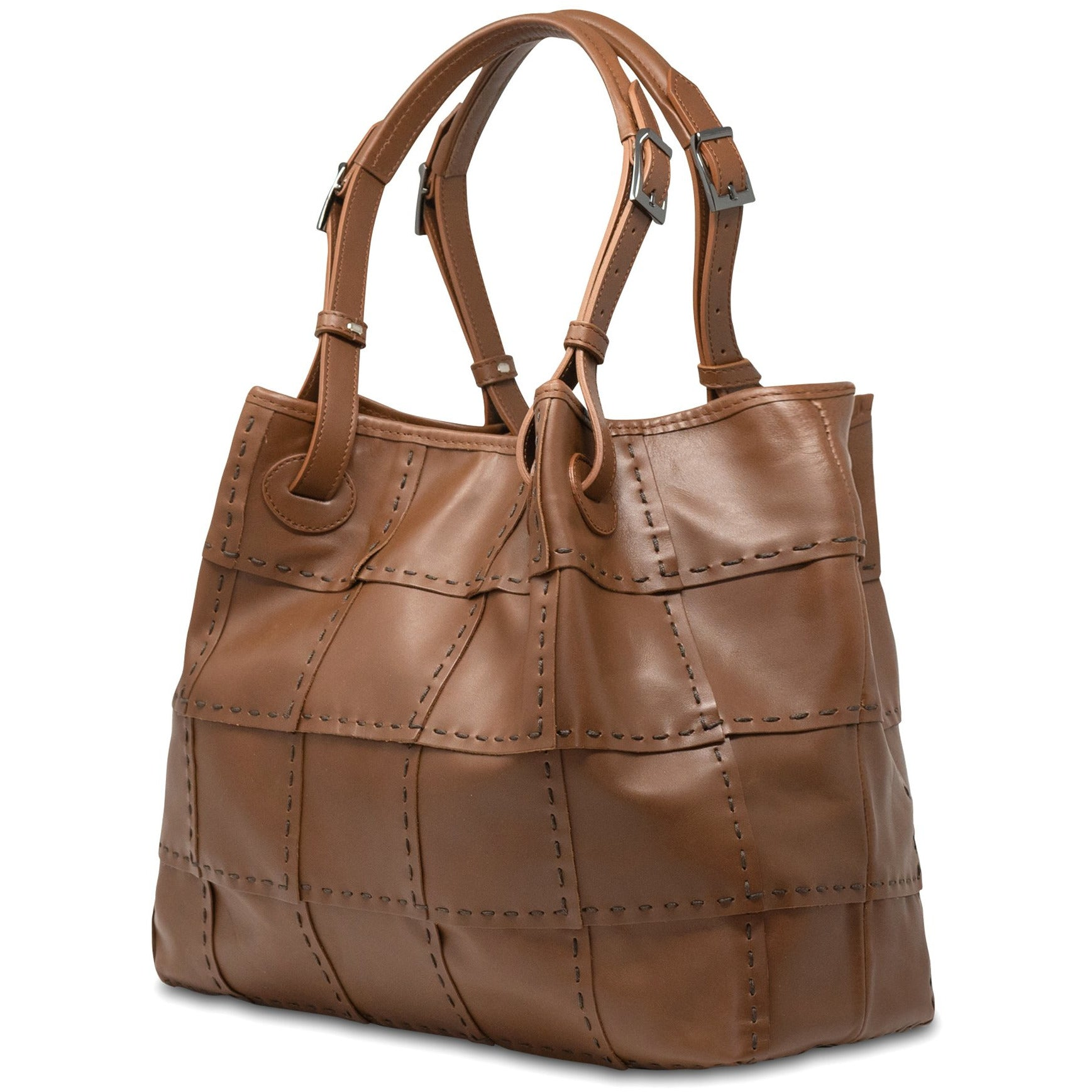 Alessia M Women Leather Shoulder Tote in Cuoio - Jennifer Tattanelli