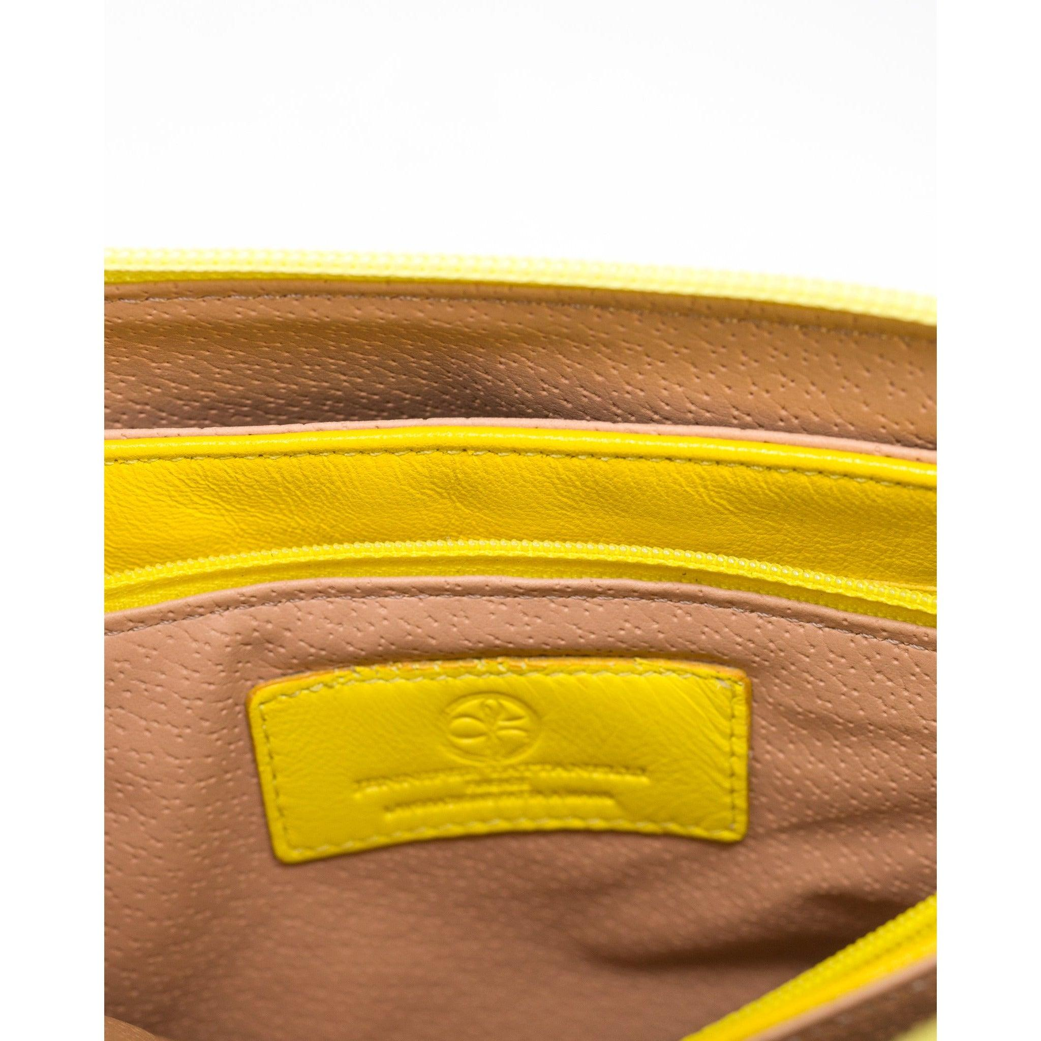 Women Leather Clutch in Yellow
