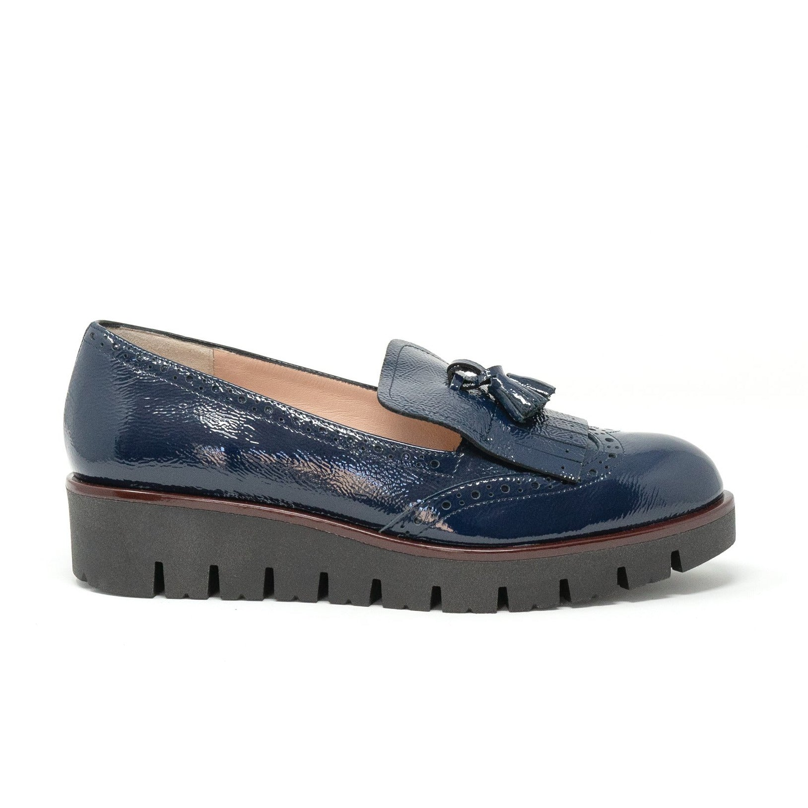 Women Slip On in Blue Patent Leather