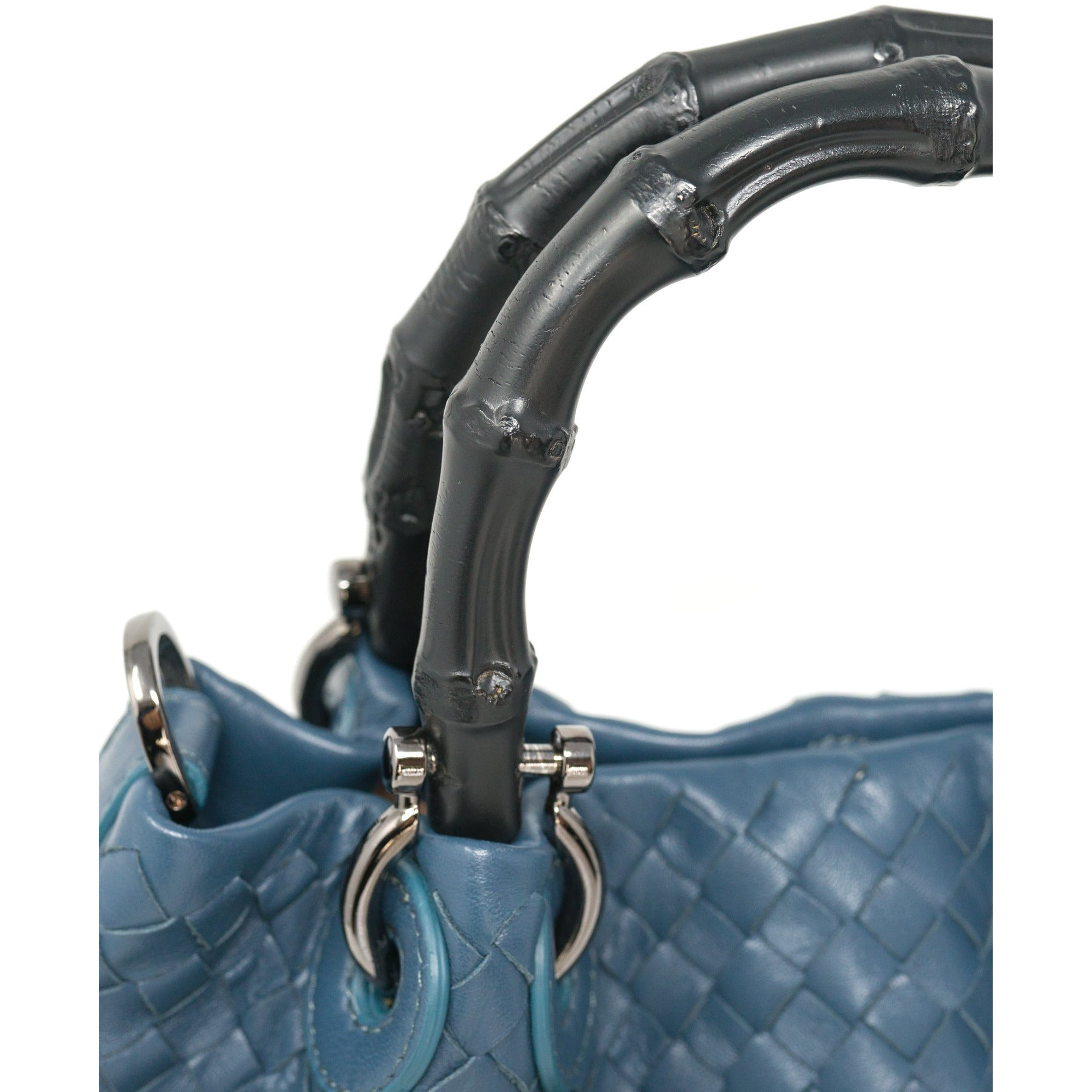 JT303 5551 25 Intrecciato Diagonale with Bamboo Handles Leather Top Handle Bag - Jennifer Tattanelli
