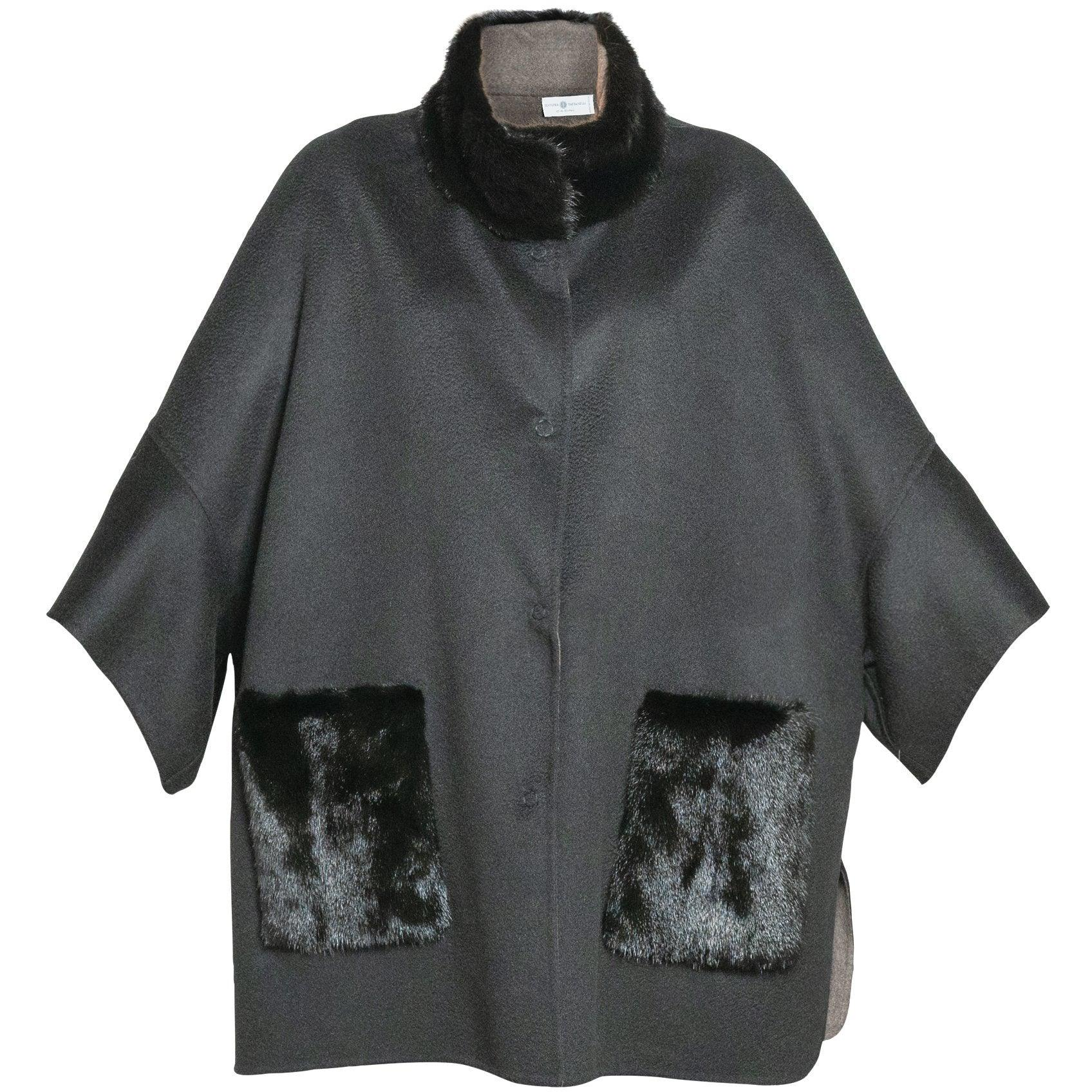 REVERSIBLE CASHMERE CAPE WITH MINK COLLAR - ROS1855 New 2020 Collection