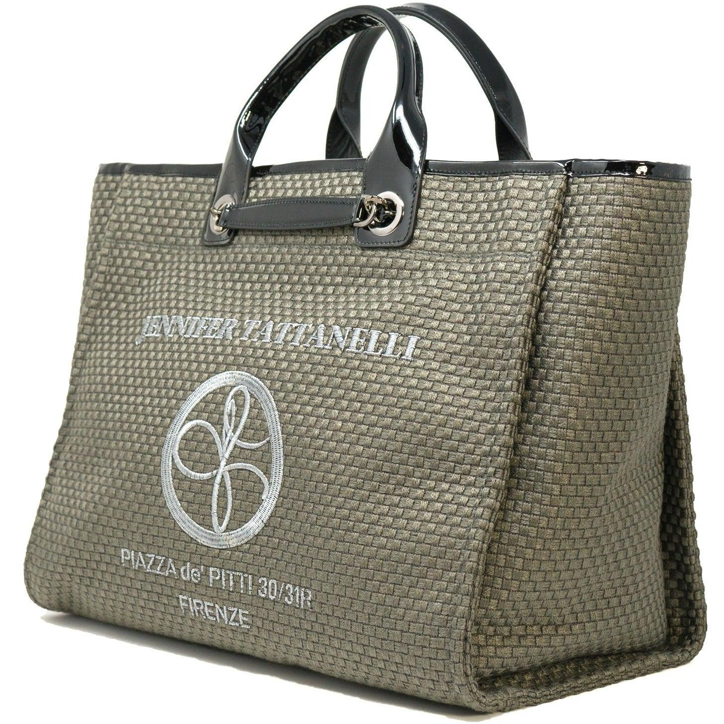 The Hamptons Bag in Grey and Black Patent Leather