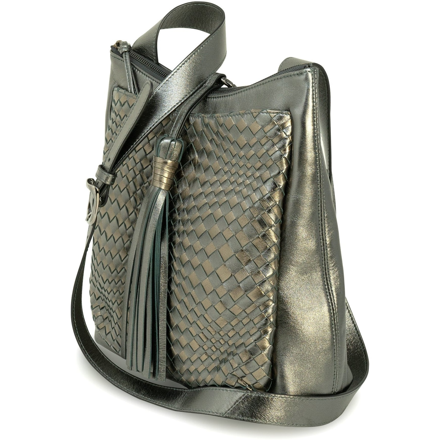 GINGER Women Intrecciato Leather Crossbody Bag in Gun Metal and Bronze - Jennifer Tattanelli