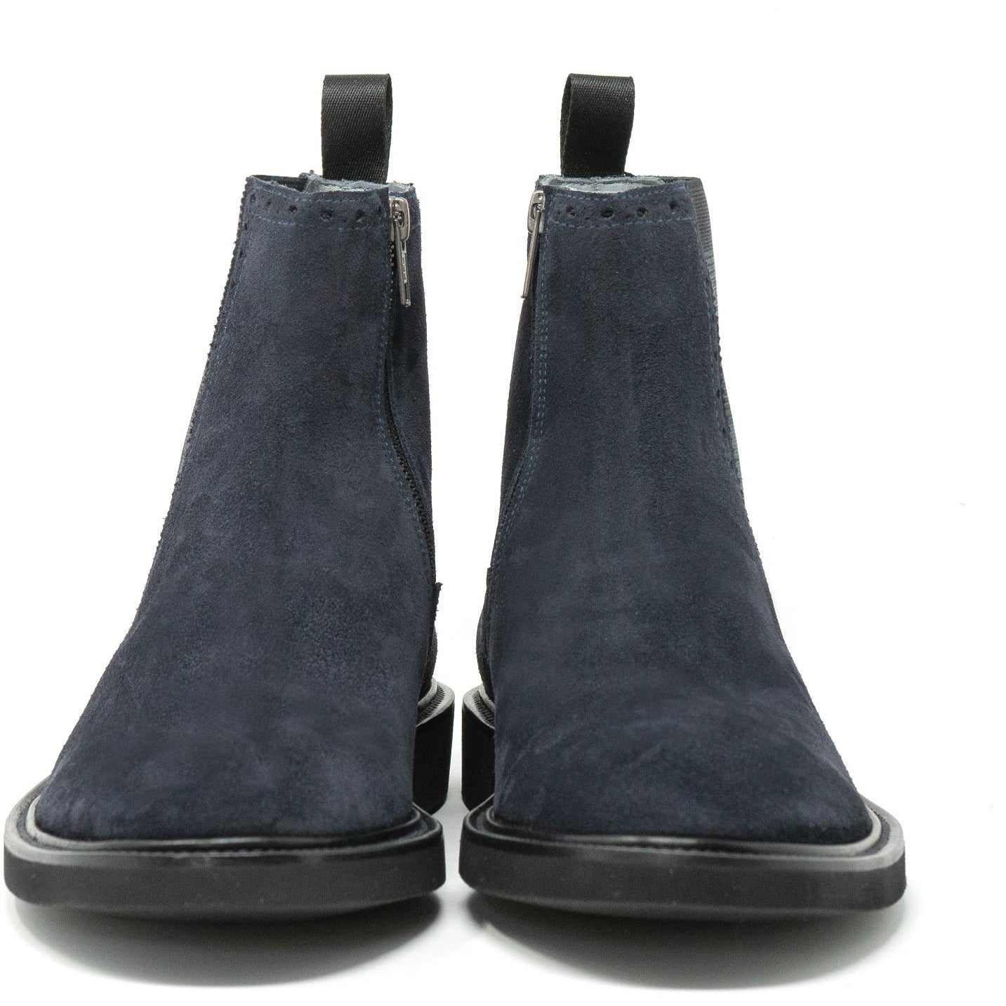 Men Water Resistant Suede Ankle Boots in Dark Blu - Jennifer Tattanelli