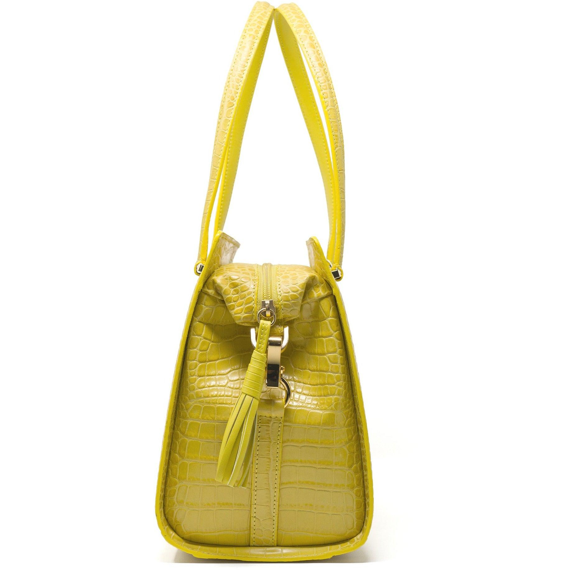 Women Top Handle Bag Crocodile-effect in Yellow