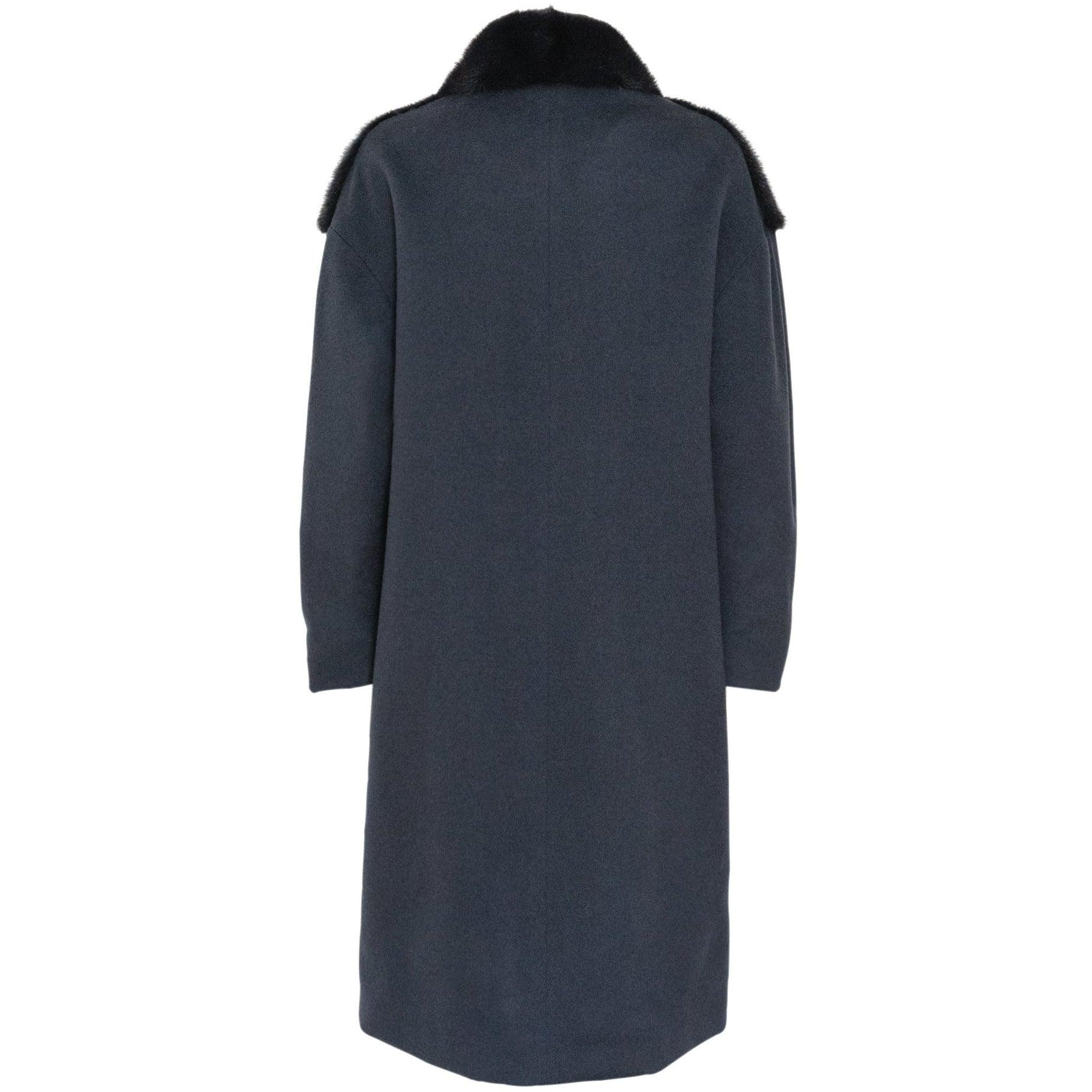 REVERSIBLE CASHMERE LONG COAT WITH MINK COLLAR