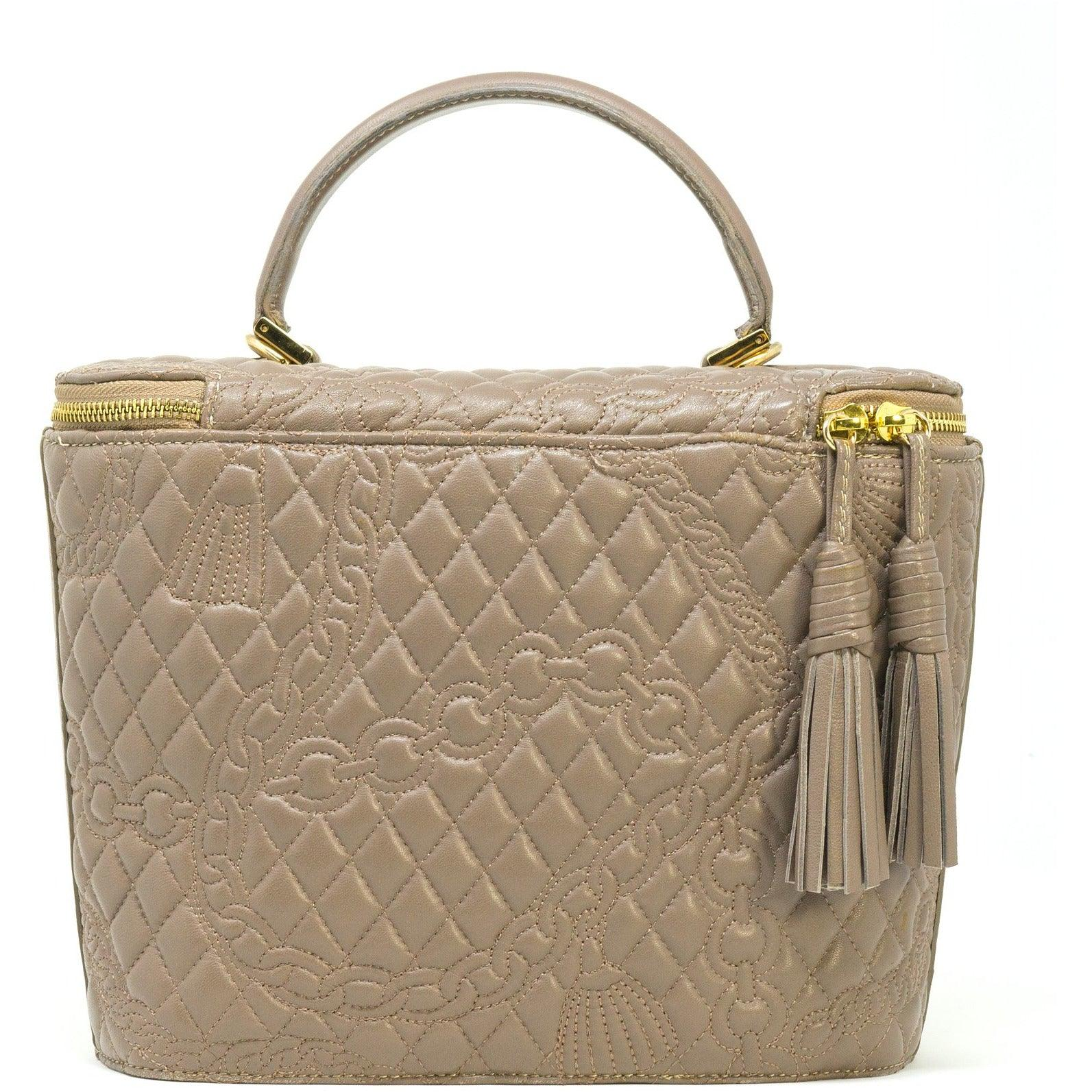 Top Handle Bag in Beige Quilted Leather