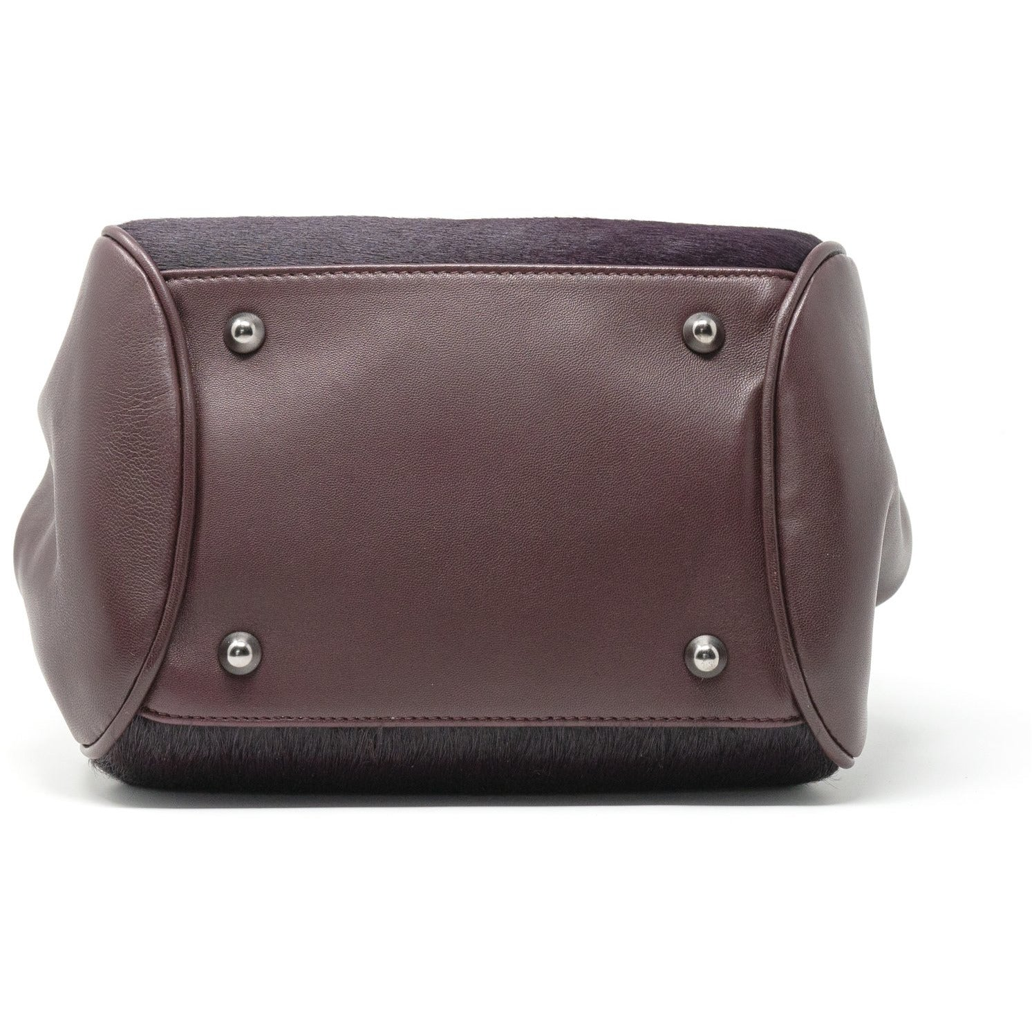 Women Shoulder Bag Nappa leather and Lamb Hair in Bordeaux