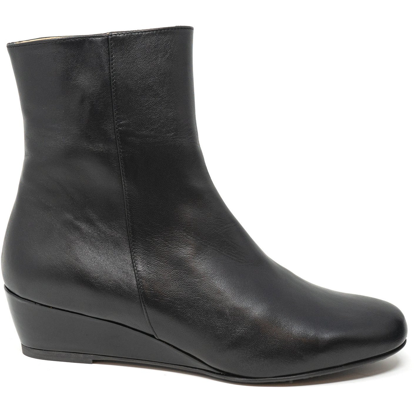 Women Ankle Wedge Boots in Black - Jennifer Tattanelli