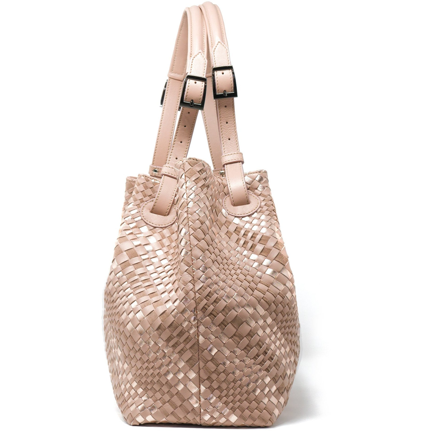 Alessia M Women Leather Intrecciato Shoulder Bag in Salmon - Jennifer Tattanelli