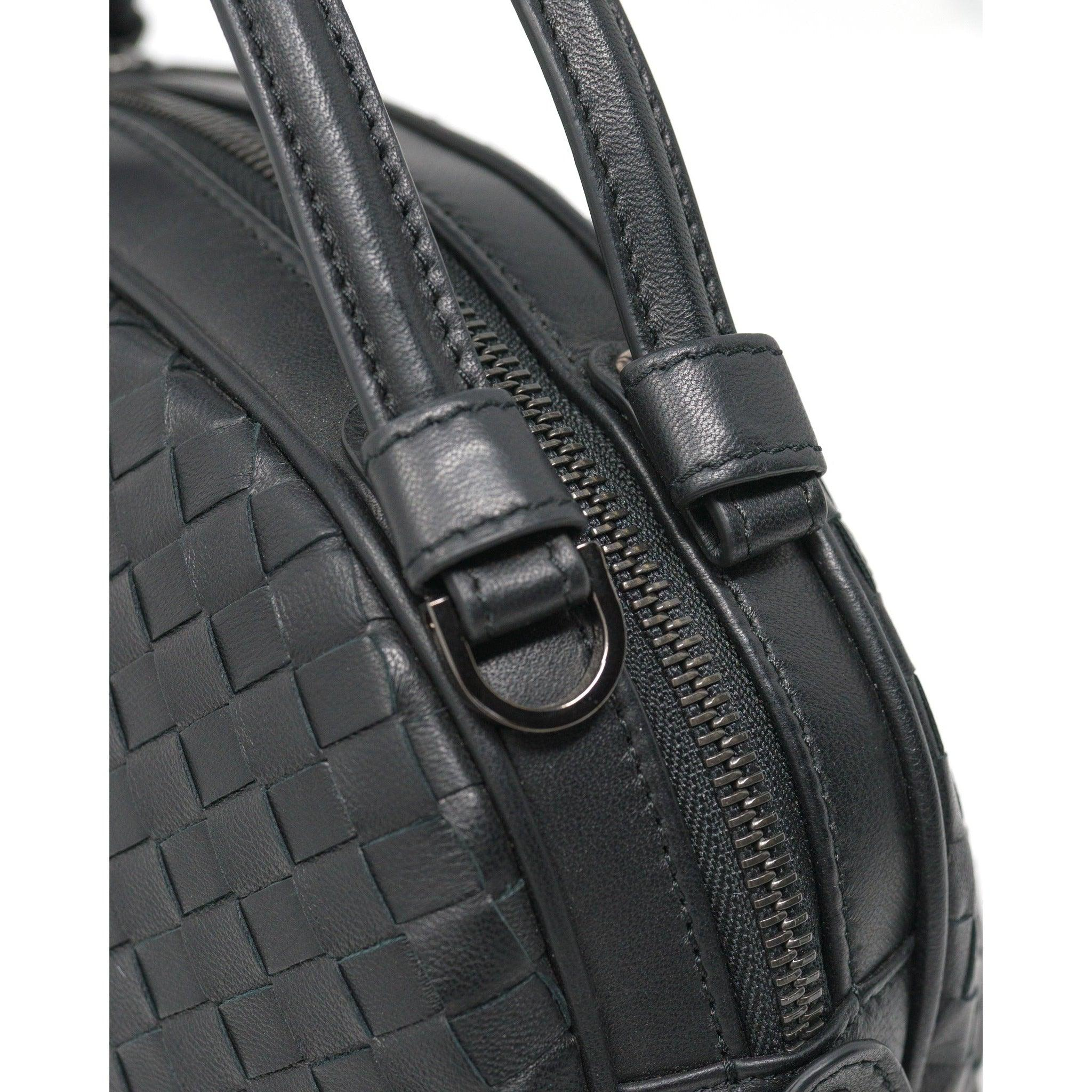 JT342 5382 Top Handle Intrecciato Bag in Black Nappa