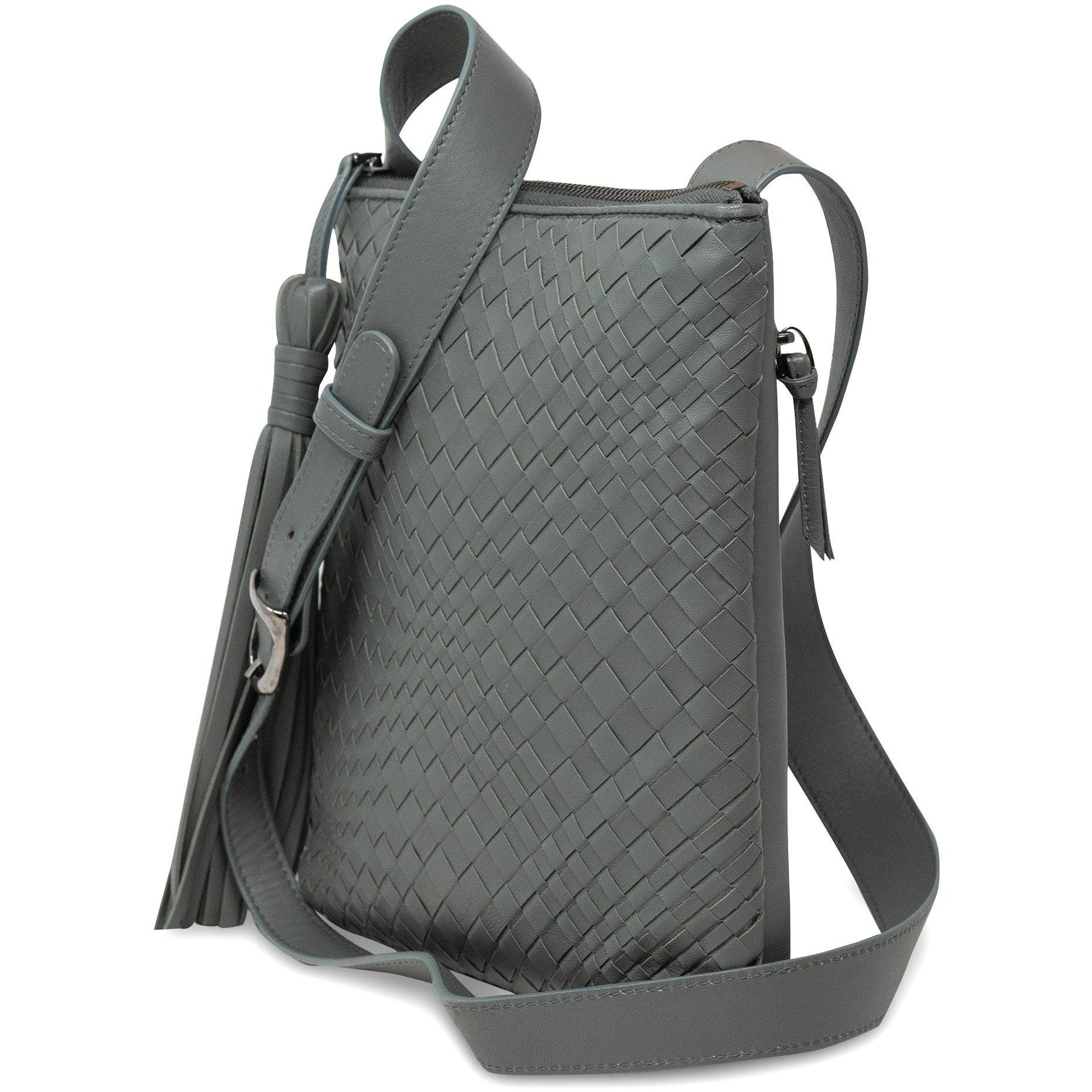 KIM Crossbody Women Bag Intrecciato Optical in Nappa Grey - Jennifer Tattanelli