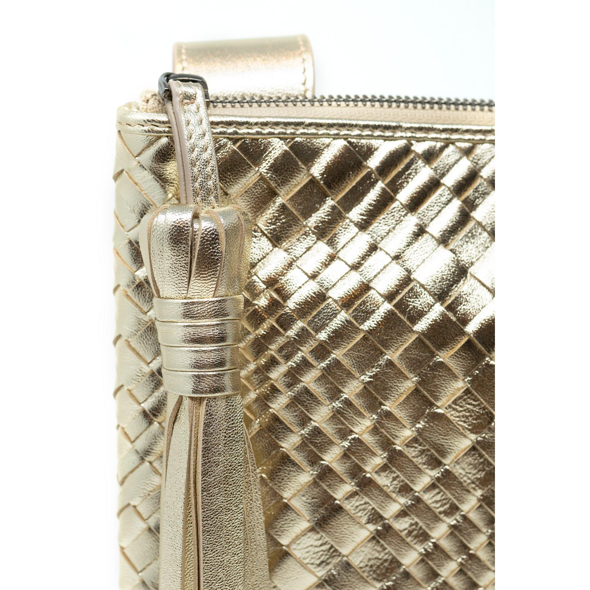 KIM Crossbody Women Bag Intrecciato Optical Gold Laminated - Jennifer Tattanelli