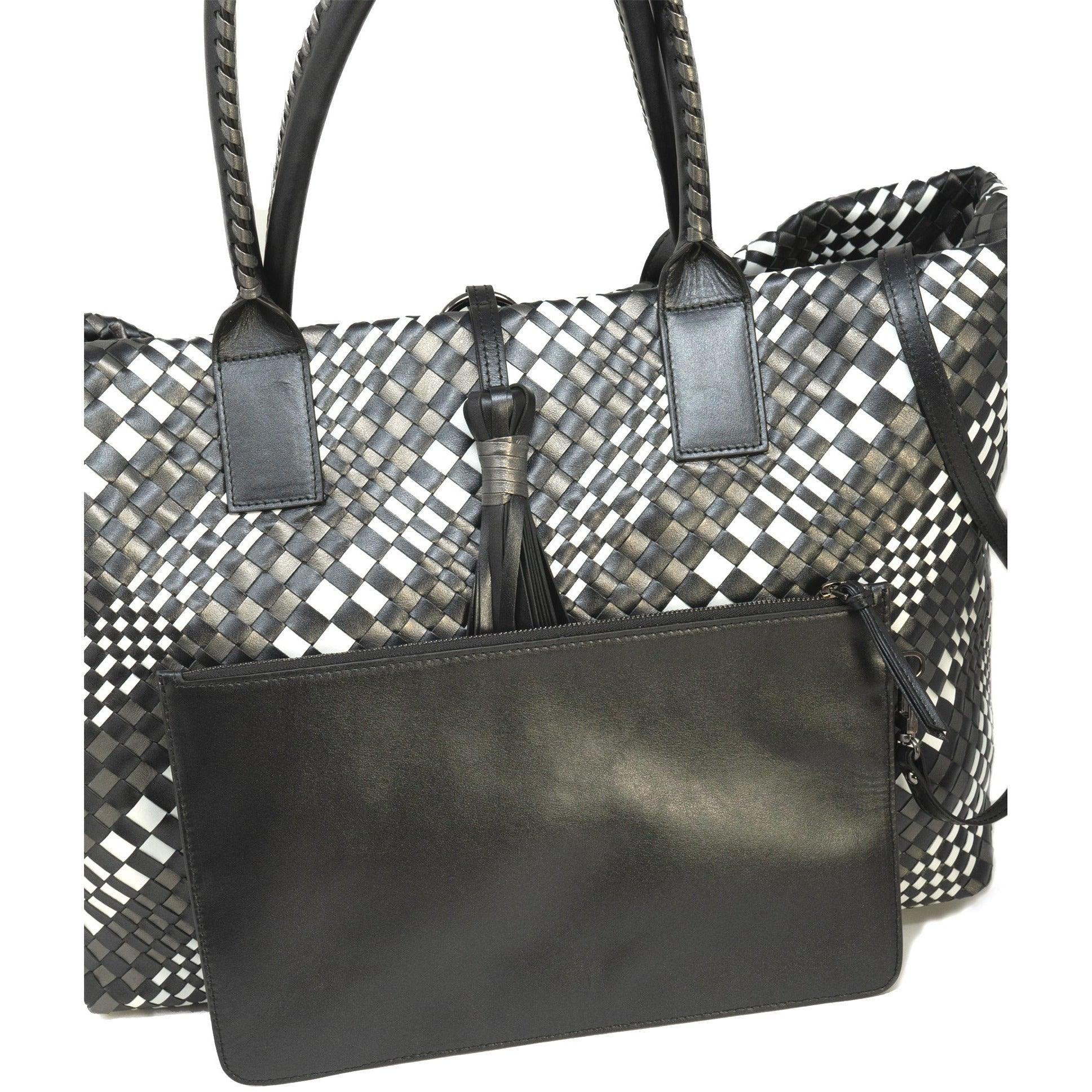 Sophia Maxi Zippered - Intrecciato Optical Leather Tote