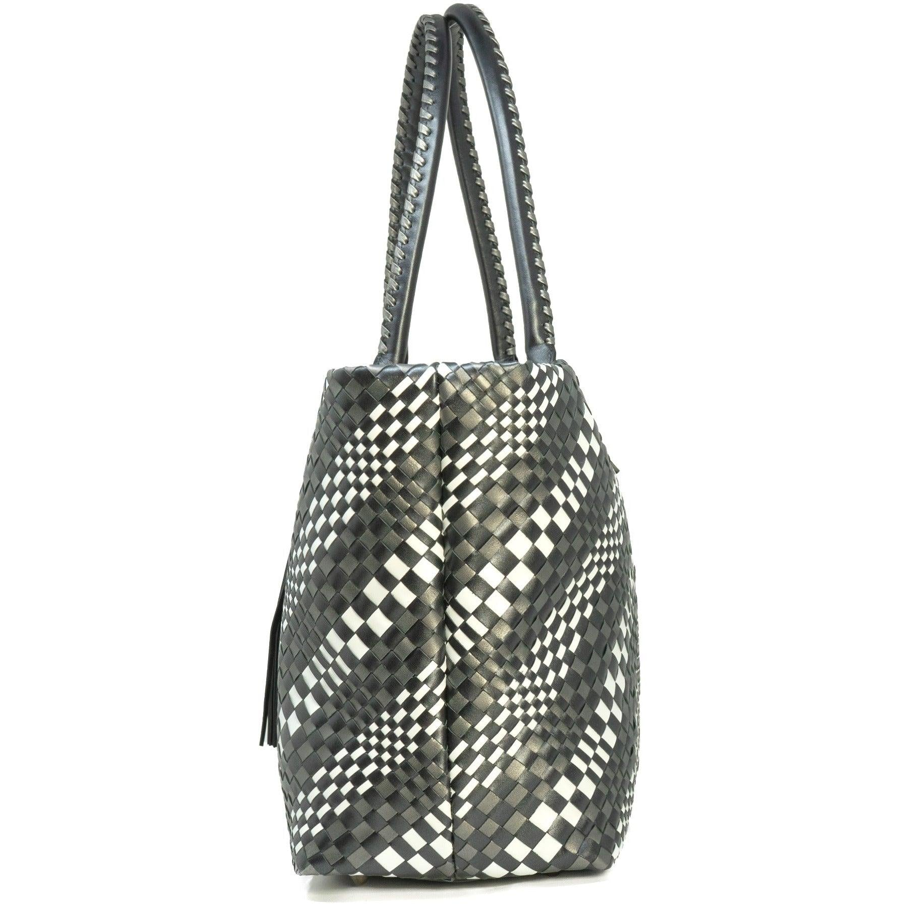 Sophia Maxi Intrecciato Zippered Shopping Bag in Pearled Black
