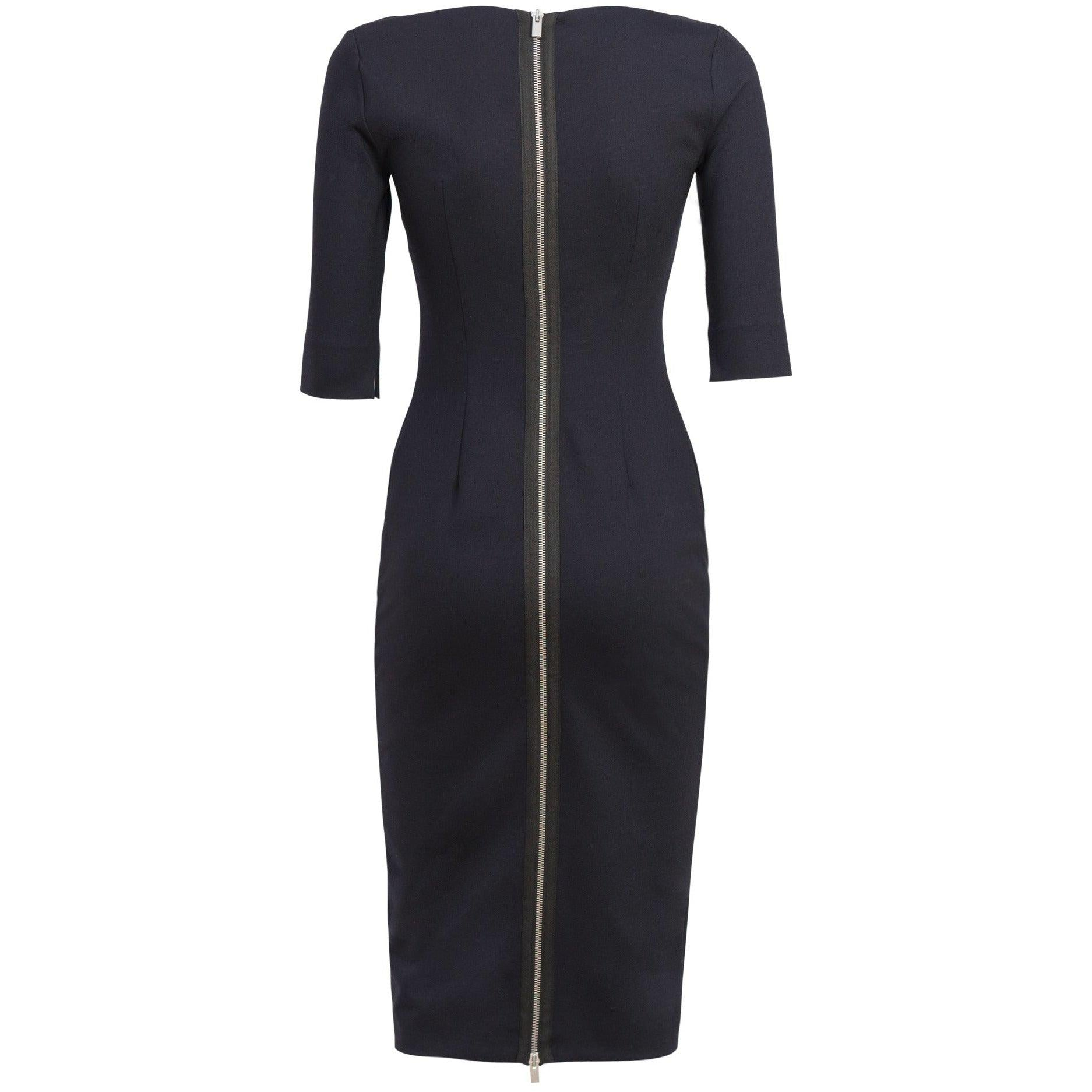 V-Neckline Fitted Dress in Blue