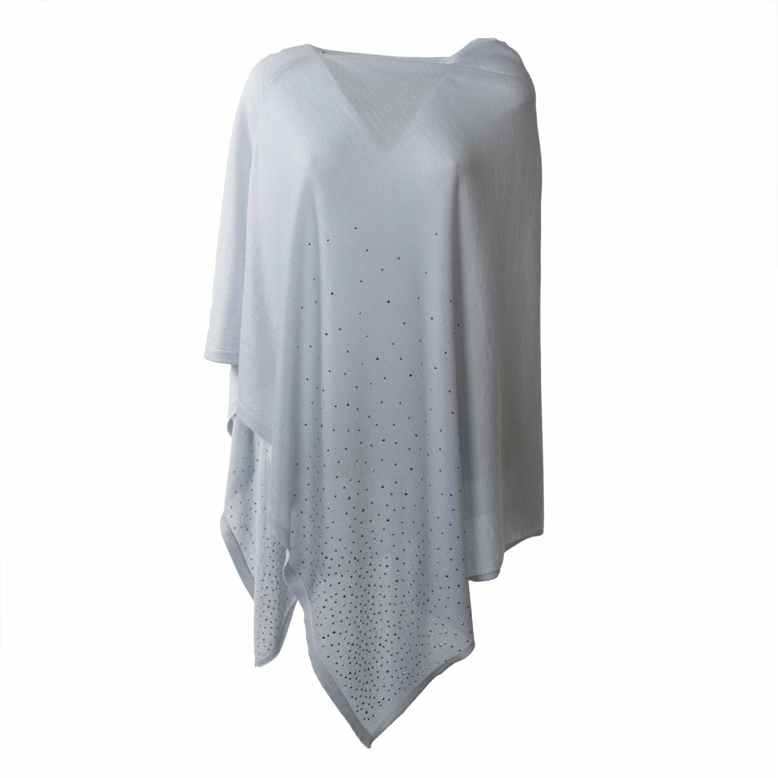 Large Pashmina Poncho With Studs in White - Jennifer Tattanelli