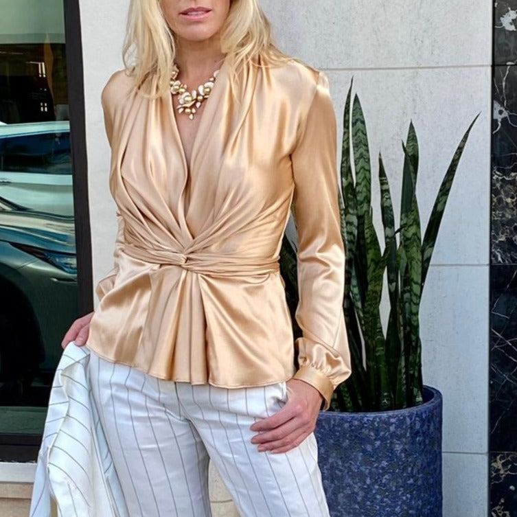 Long Sleeve Silk Blouse with Sash in Gold