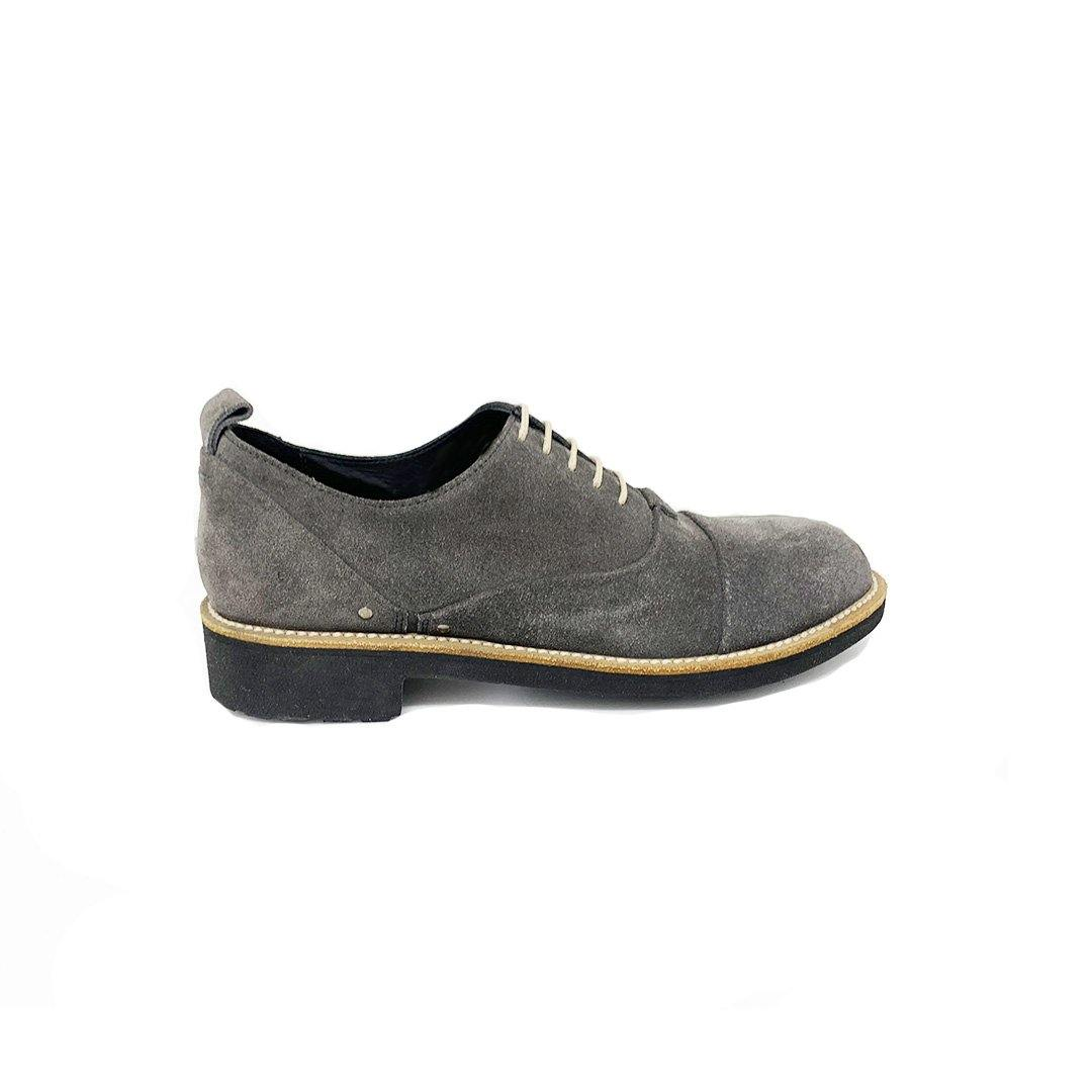 Wome's Lace Up Shoes In Grey Suede - Jennifer Tattanelli