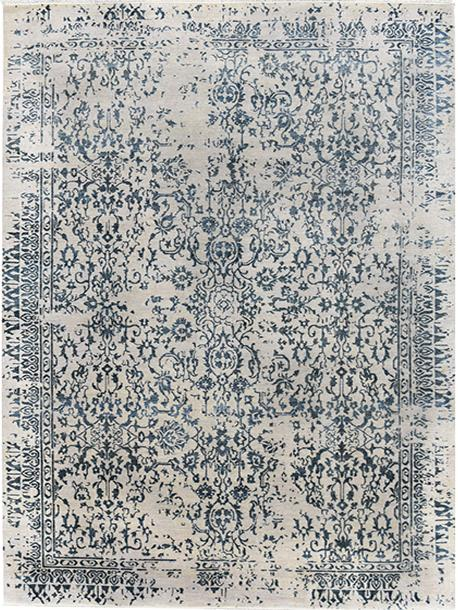 Erase Blue Rug Transitional Shop Tapis