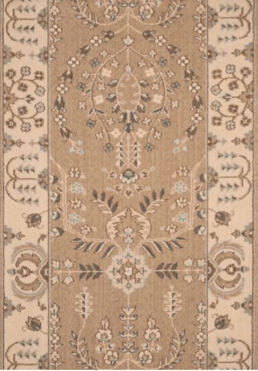 Grand Parterre Sarouk Border Stair Runner runner Shop Tapis Hazelnut 30""