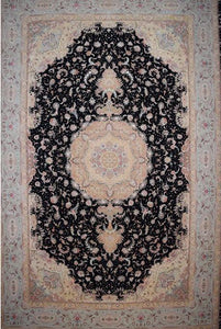 Persian Tabriz Medallion Black Rug handmade area rug Shop Tapis