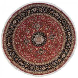 Round Persian Tabriz Red Rug handmade area rug Shop Tapis