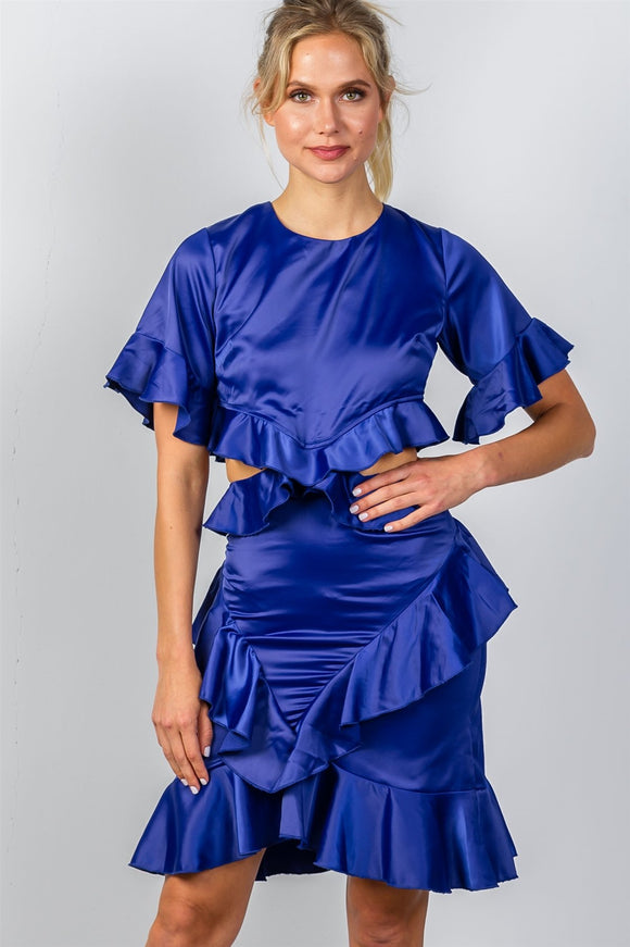Ladies fashion bow tie back cut-out ruffle midi dress
