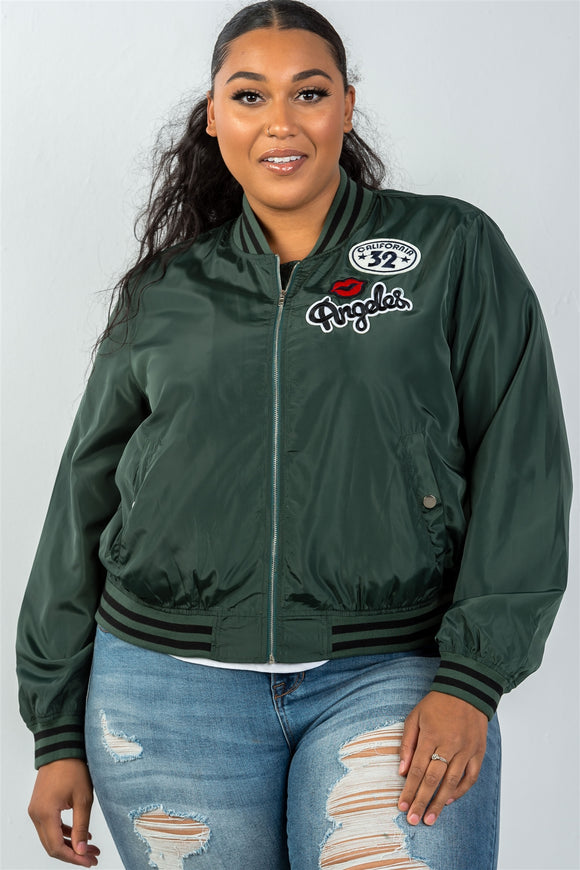 Ladies fashion plus size dark green patch bomber jacket