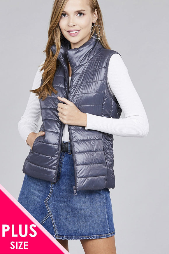 Ladies fashion plus size quilted padding vest