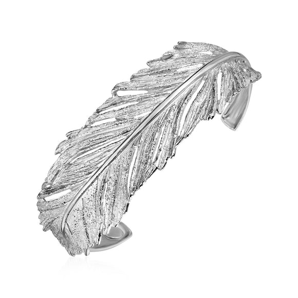 Textured Leaf Cuff Bangle in Sterling Silver